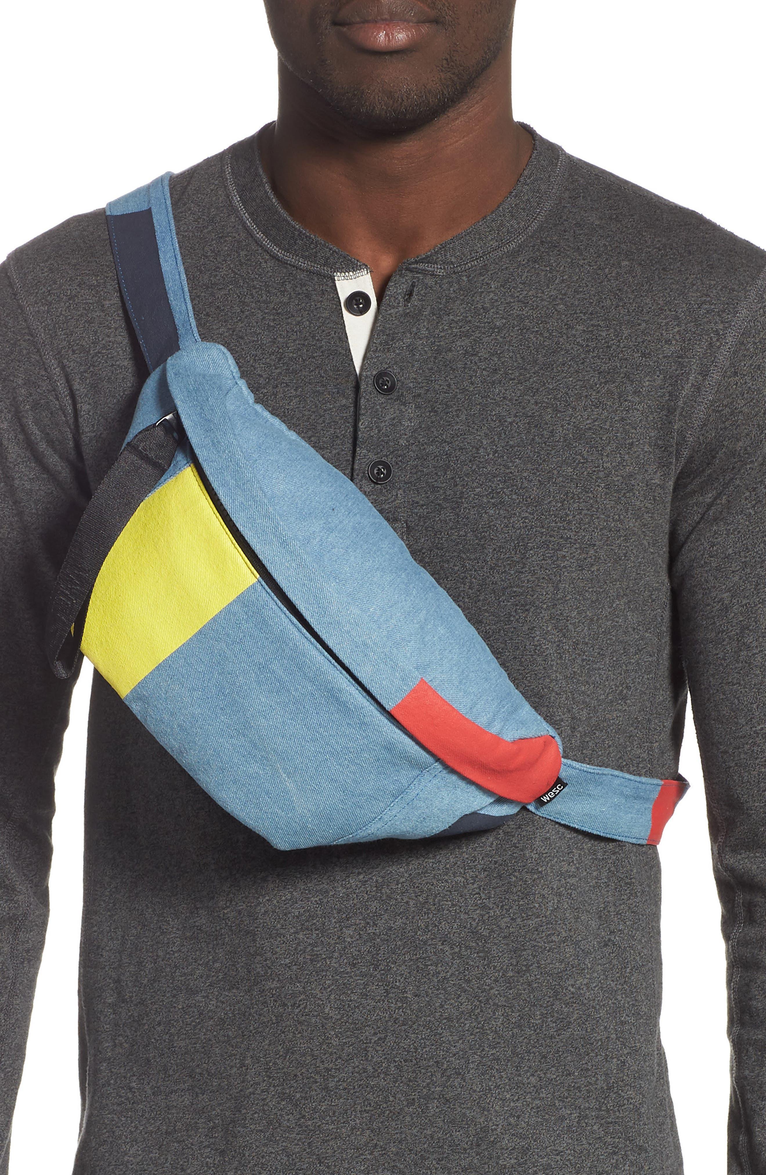 WESC,                             Usher Colorblock Denim Belt Bag,                             Alternate thumbnail 3, color,                             CERULEAN BLUE