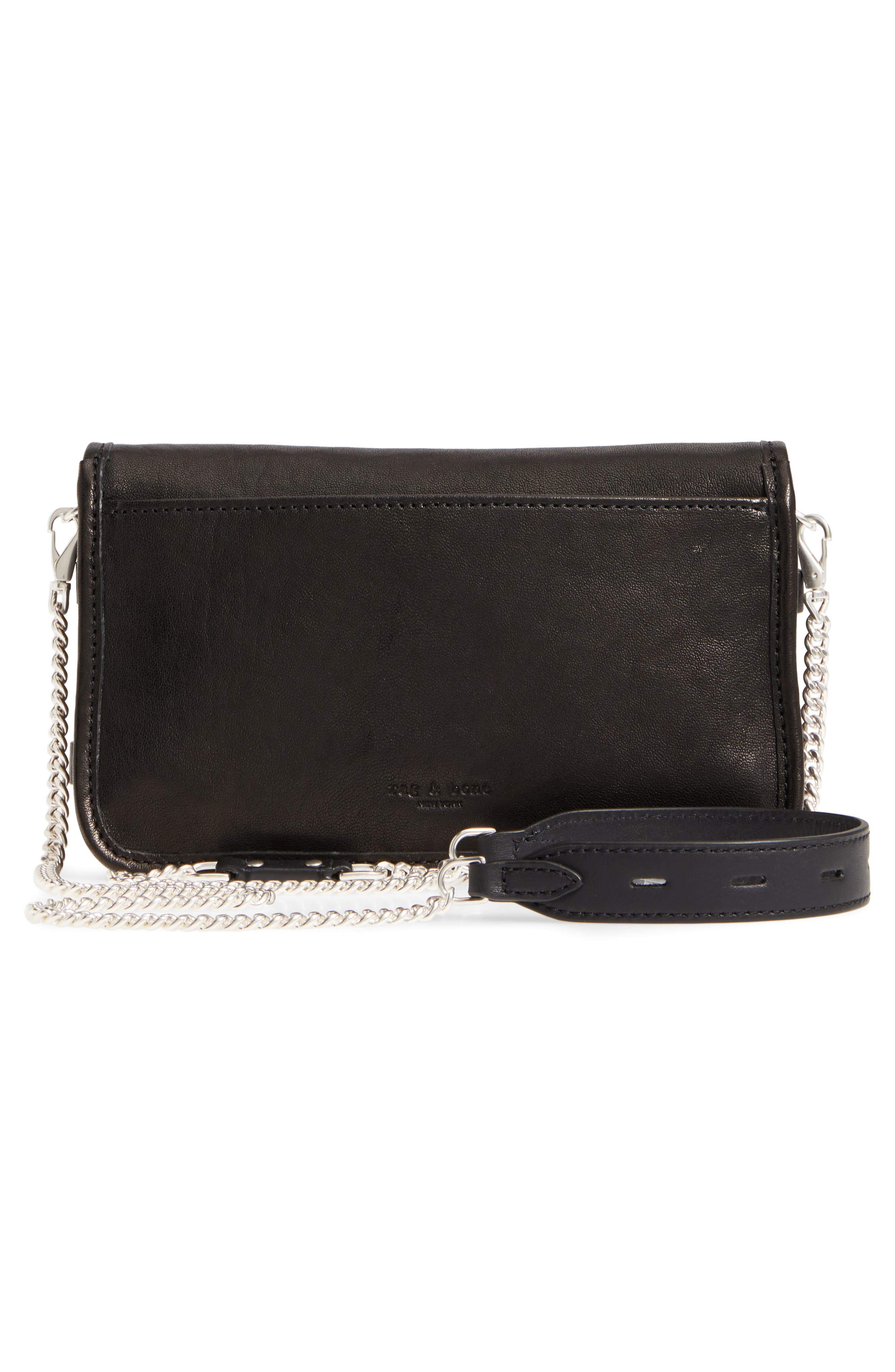 Leather Field Clutch,                             Alternate thumbnail 3, color,                             001