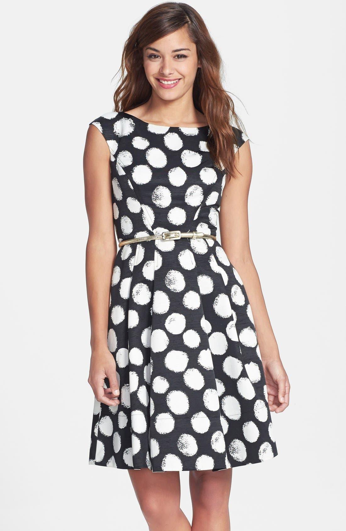ELIZA J,                             Polka Dot Faille Fit & Flare Dress,                             Main thumbnail 1, color,                             001