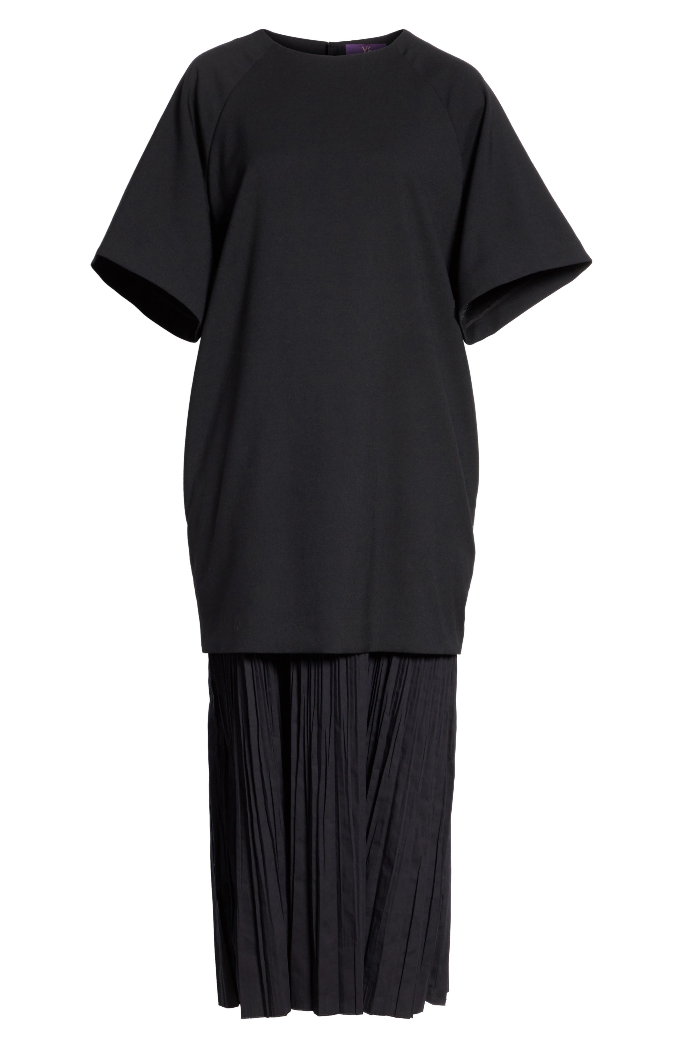 K Bottom Pleated Dress,                             Alternate thumbnail 7, color,                             001