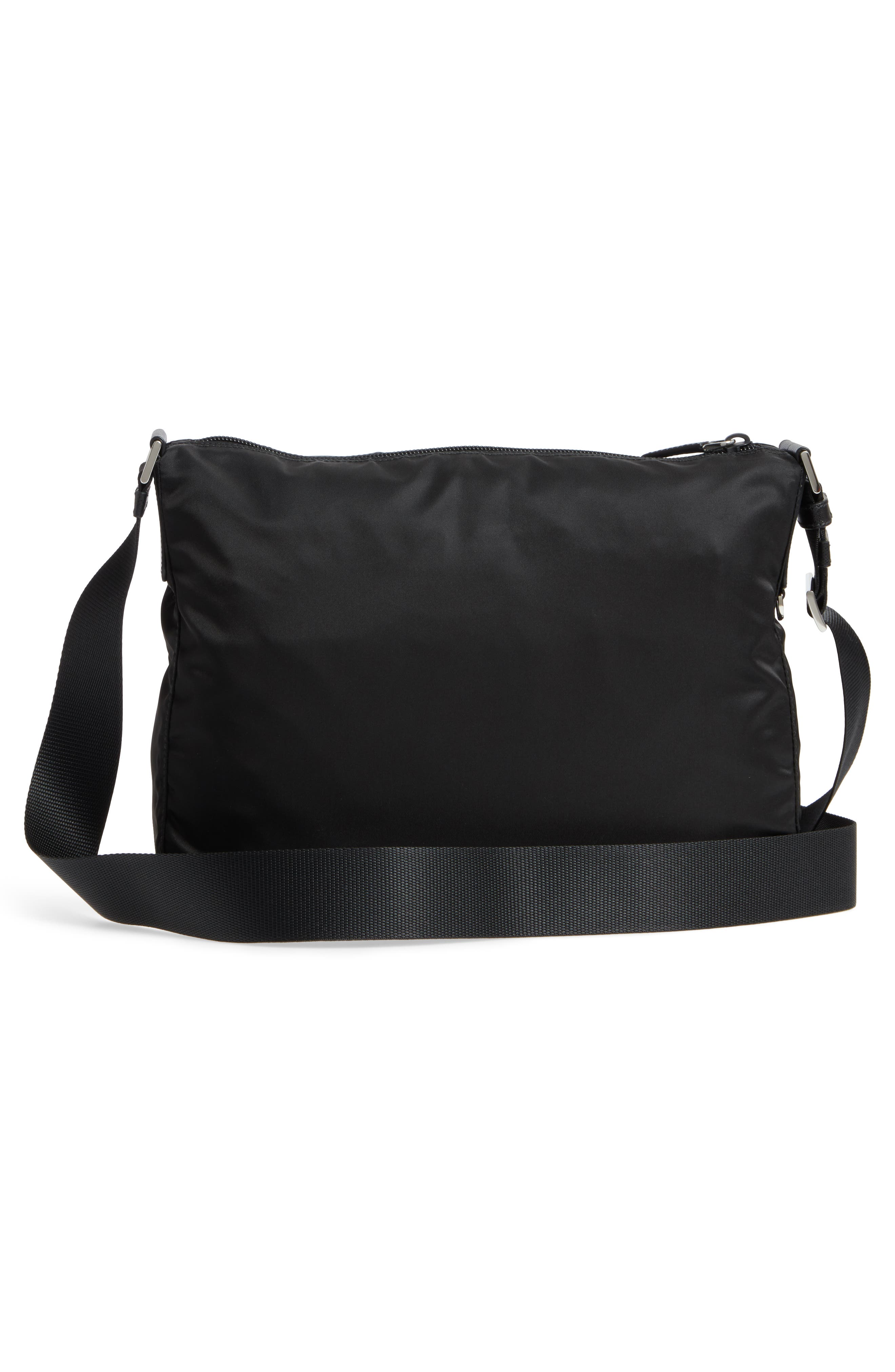Large Nylon Crossbody Bag,                             Alternate thumbnail 3, color,                             NERO