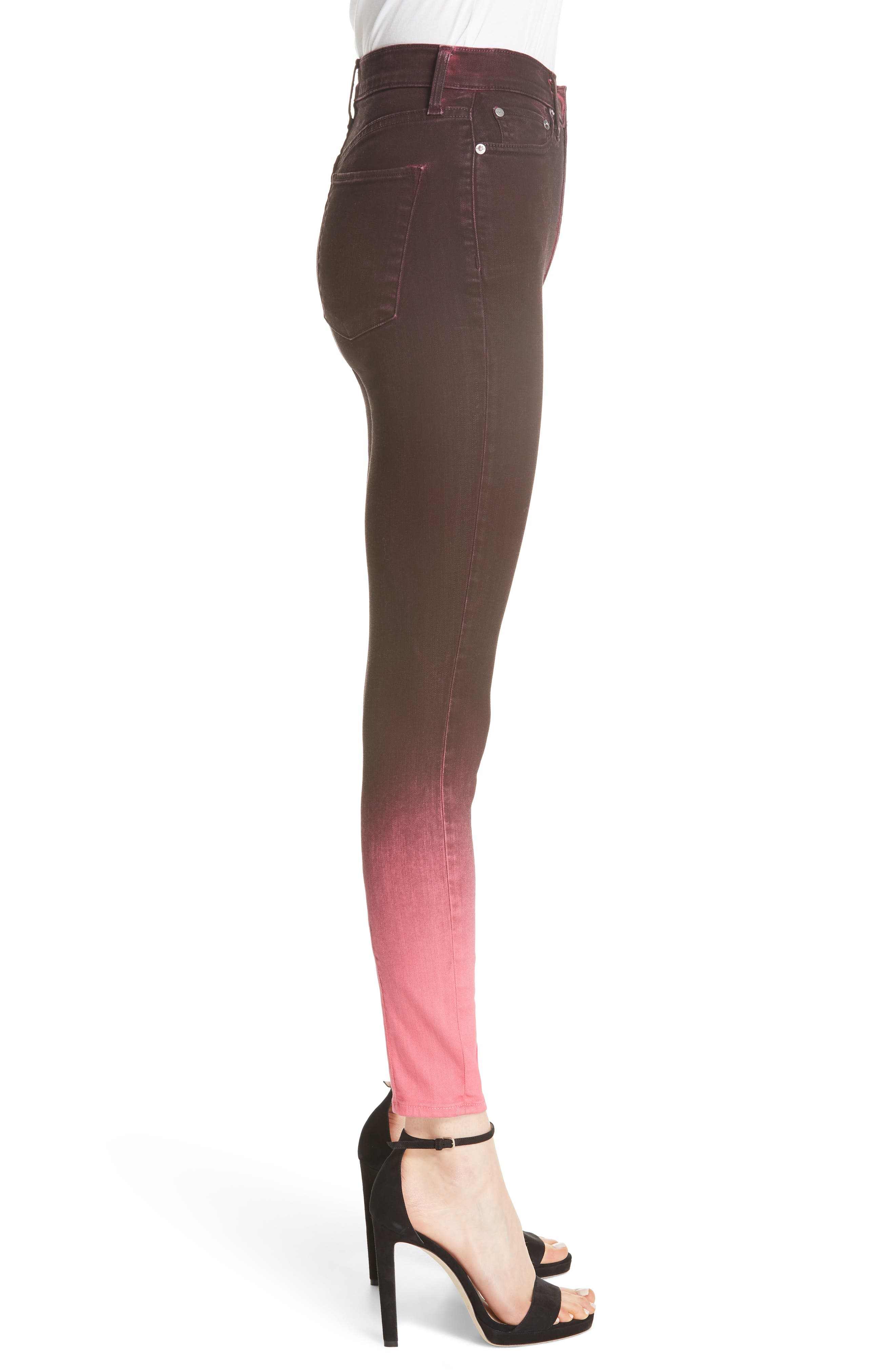 AO.LA Good High Waist Ankle Skinny Jeans,                             Alternate thumbnail 3, color,                             WINE/ BUBBLEGUM