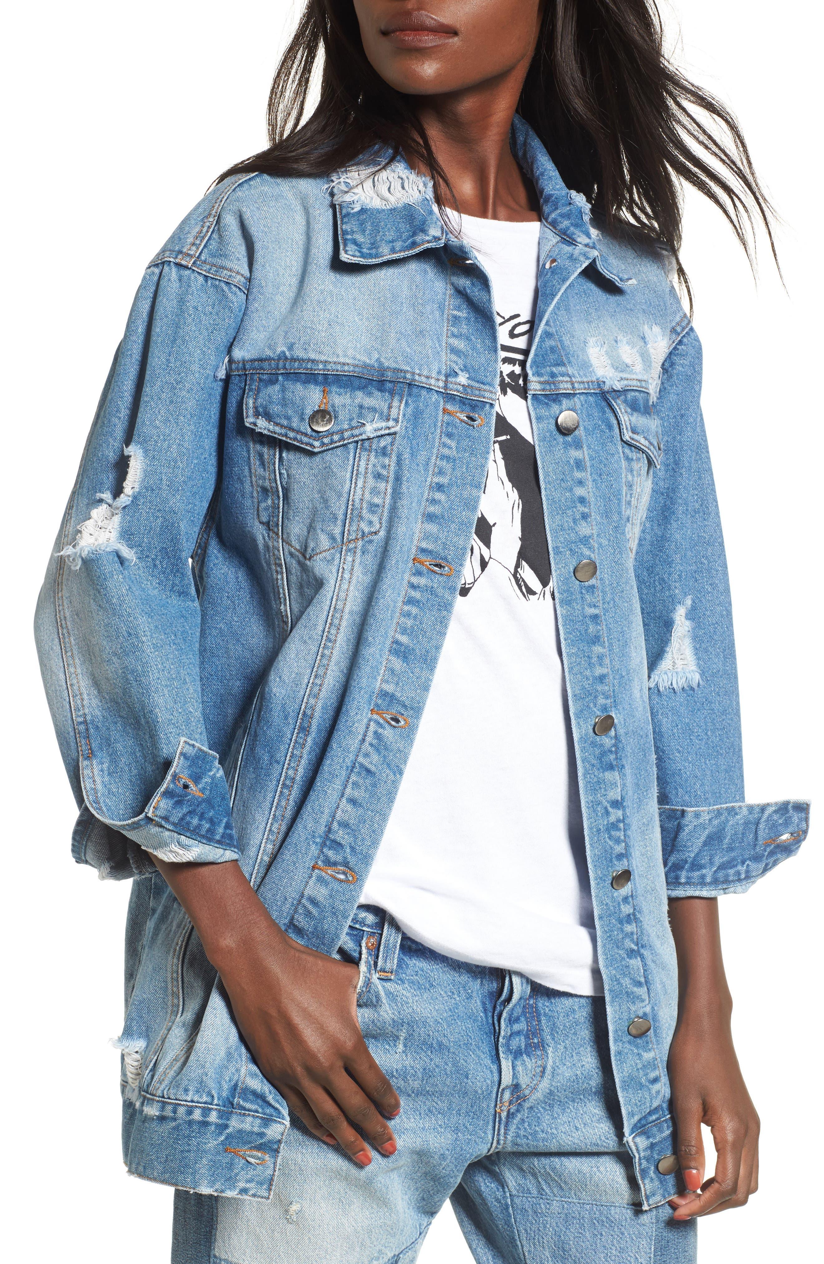 Decon Longline Denim Jacket,                         Main,                         color, 450
