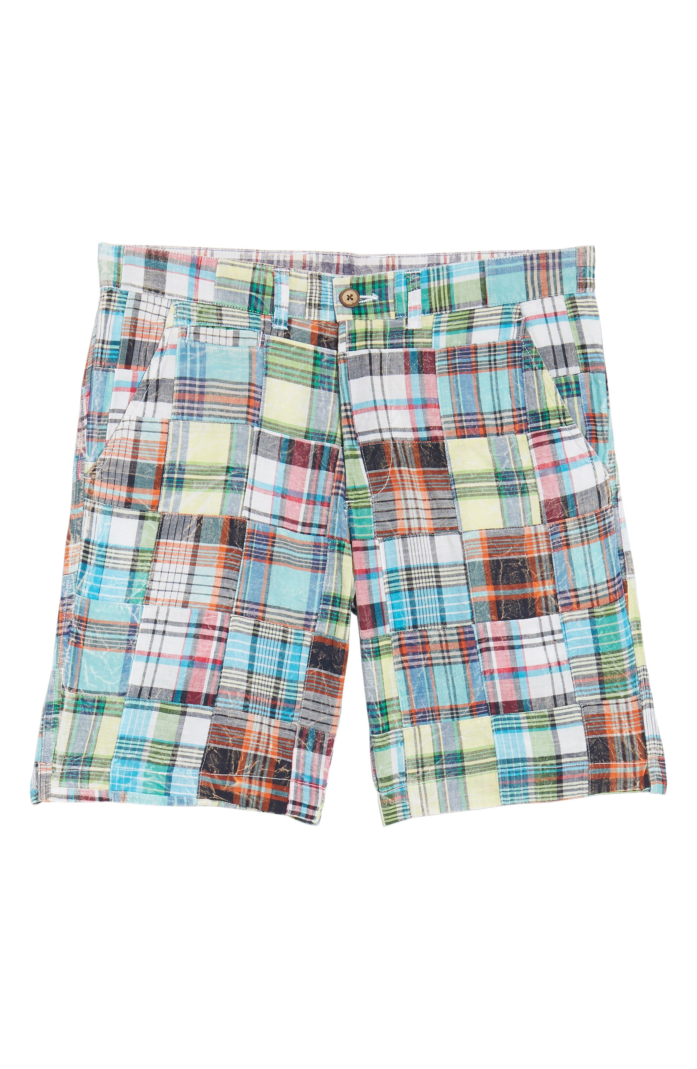 Acid Wash Plaid Patchwork Shorts,                             Alternate thumbnail 6, color,                             300