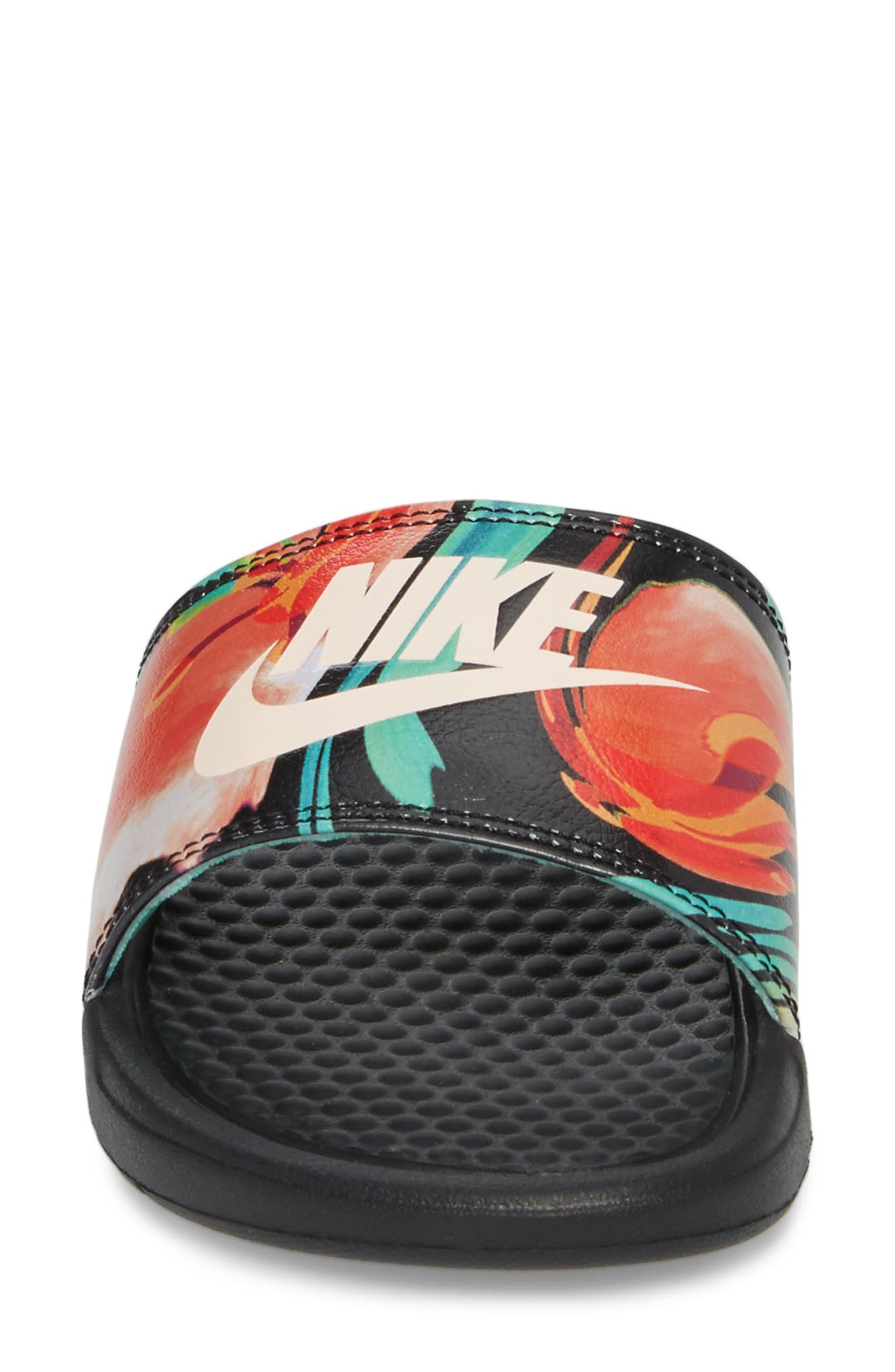 NIKE,                             'Benassi - Just Do It' Print Sandal,                             Alternate thumbnail 4, color,                             BLACK/ CREAM