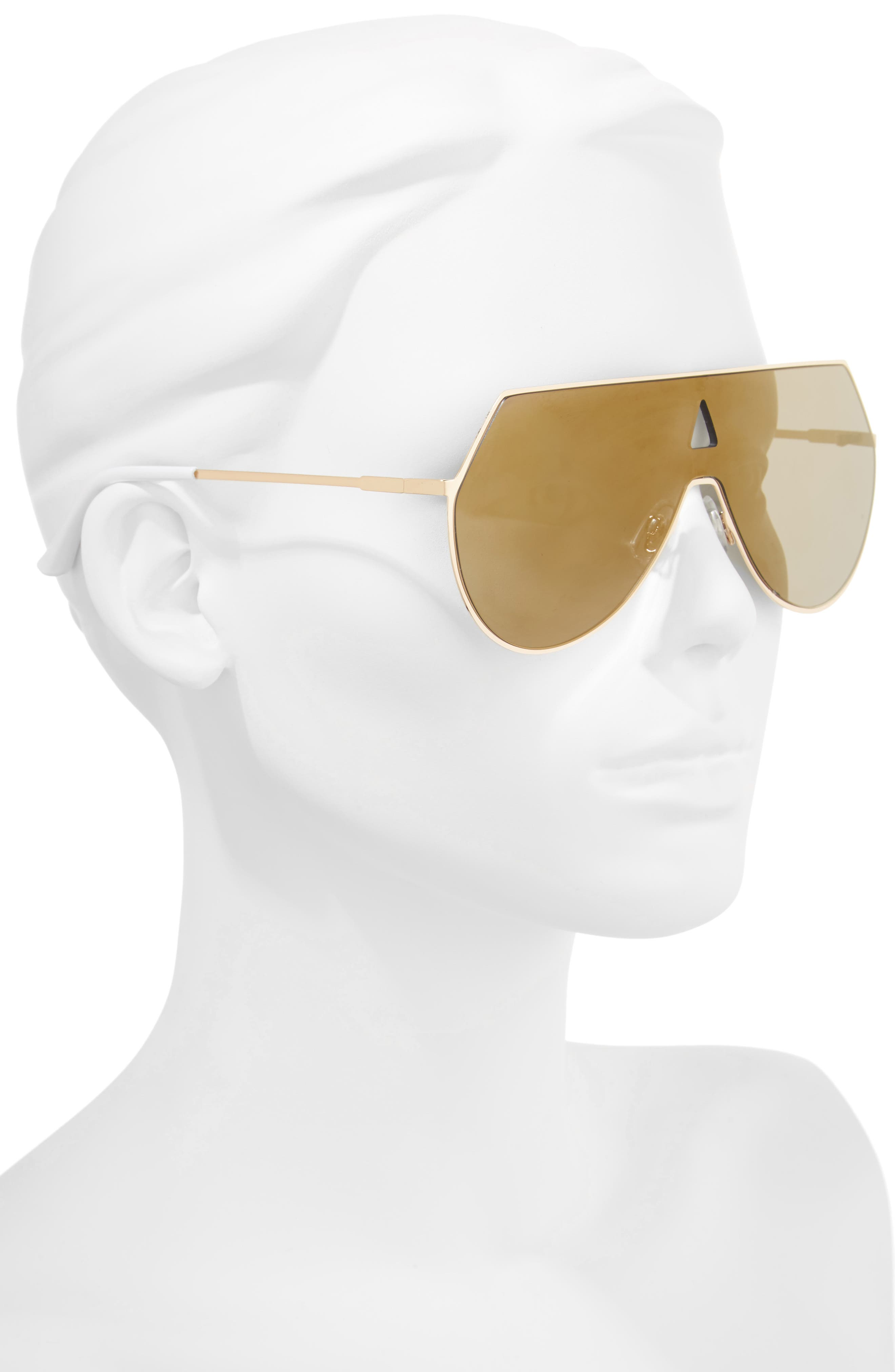 60mm Flat Lens Aviator Sunglasses,                             Alternate thumbnail 2, color,