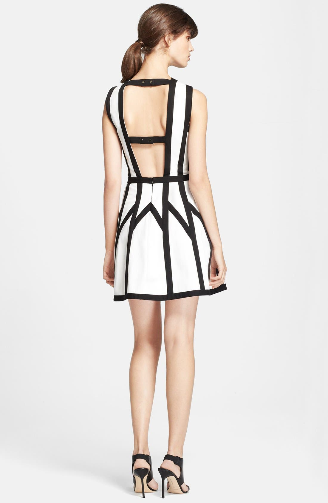 'Graphic Spear' Fit & Flare Dress,                             Alternate thumbnail 4, color,                             100