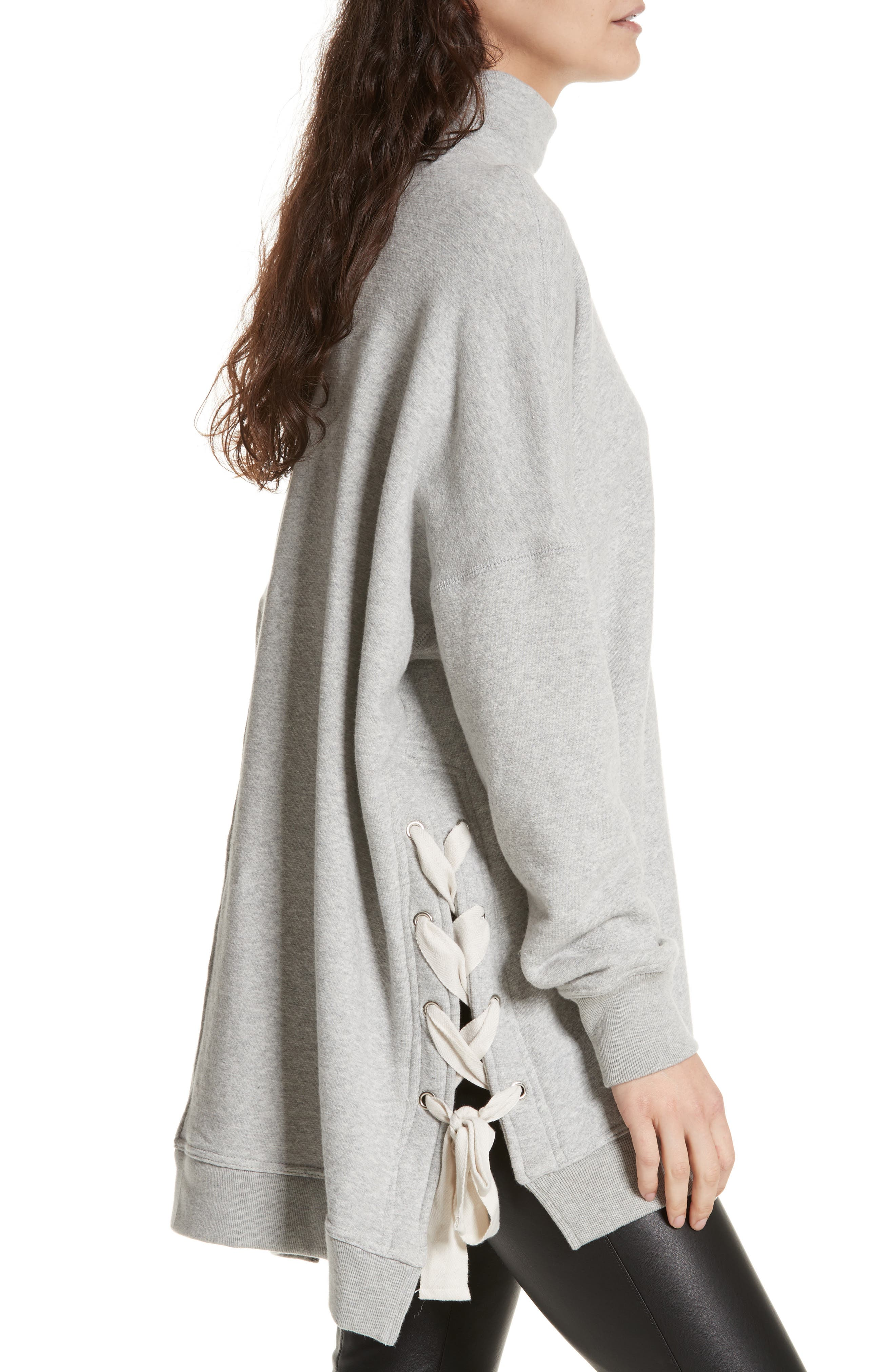 So Plush Lace-Up Pullover,                             Alternate thumbnail 3, color,                             GREY