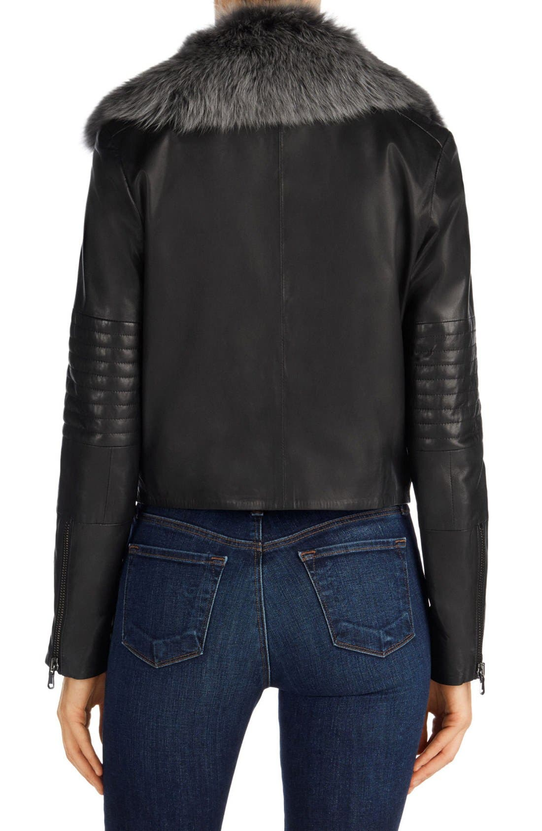 Aiah Leather Moto Jacket with Detachable Lamb Shearling Collar,                             Alternate thumbnail 4, color,                             001