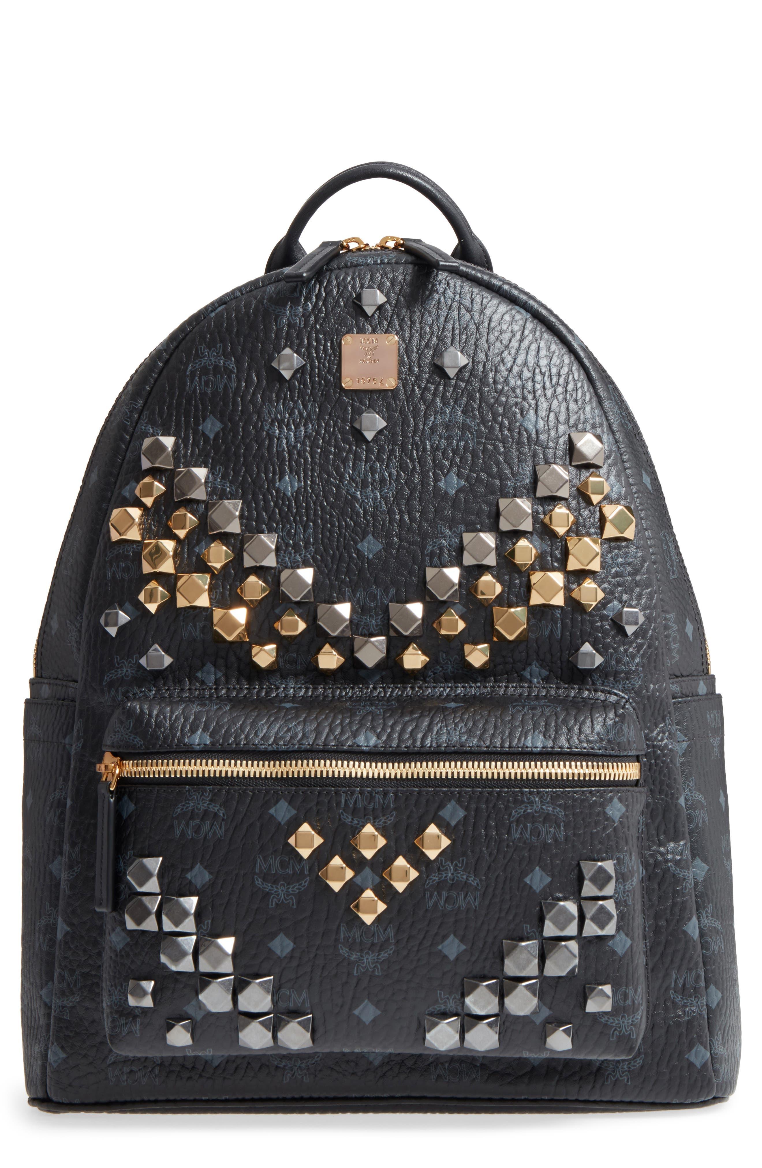 MCM Medium Stark - Visetos Studded Logo Backpack, Main, color, BLACK
