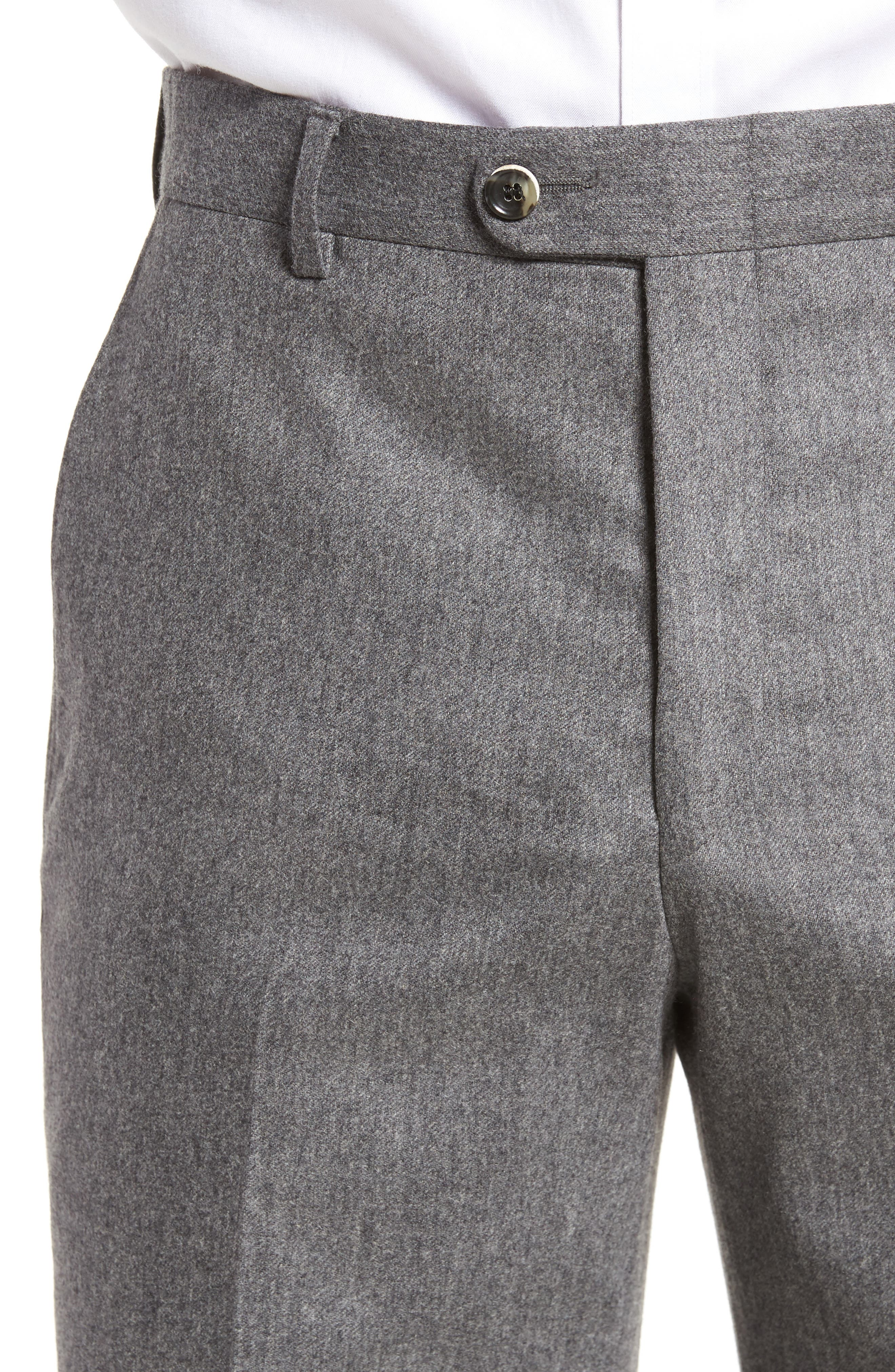 Classic B Fit Flat Front Solid Wool Blend Trousers,                             Alternate thumbnail 5, color,                             030
