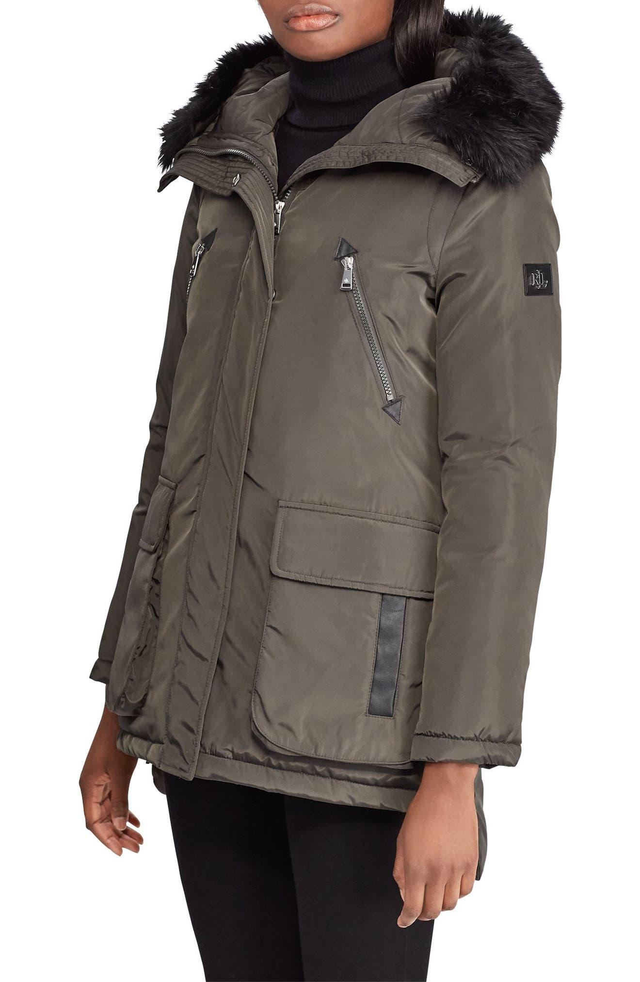Faux Fur Trim Hooded Coat,                             Main thumbnail 1, color,                             DARK MOSS