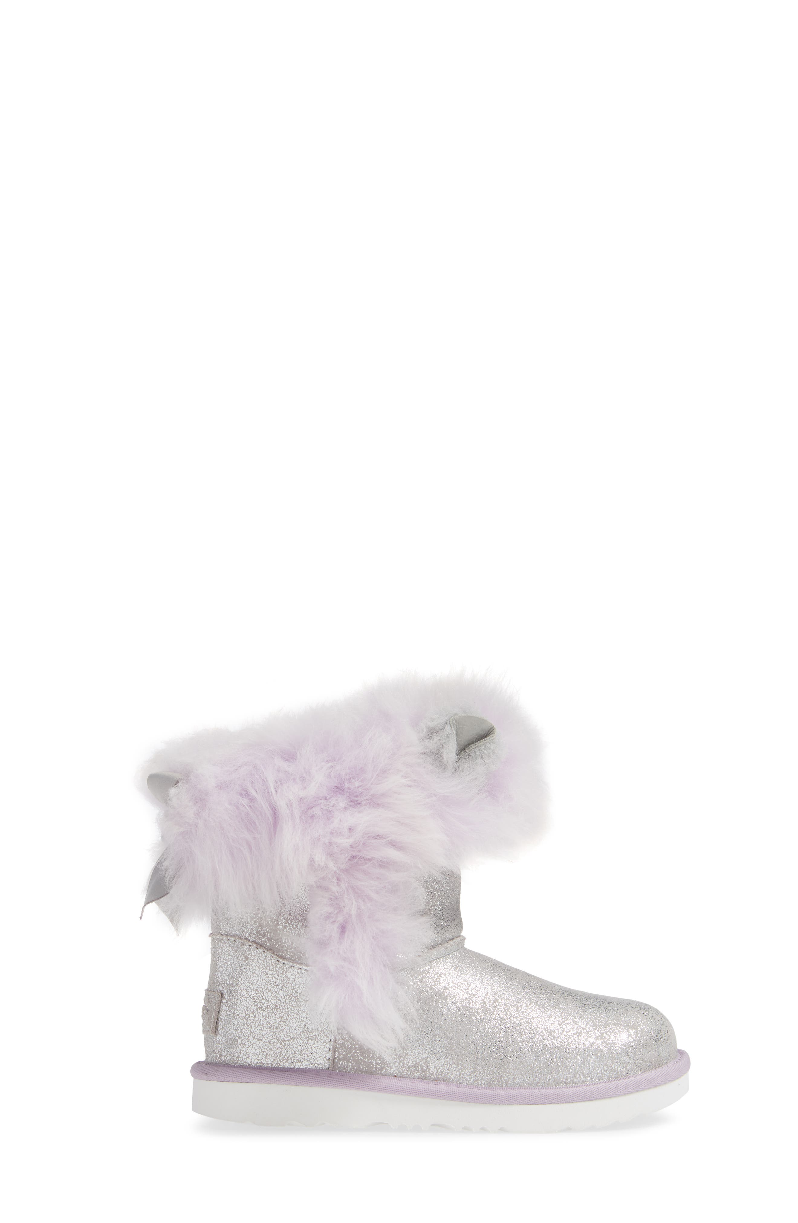 Maizey Classic Genuine Shearling Glitter Boot,                             Alternate thumbnail 3, color,                             SILVER / LAVENDER
