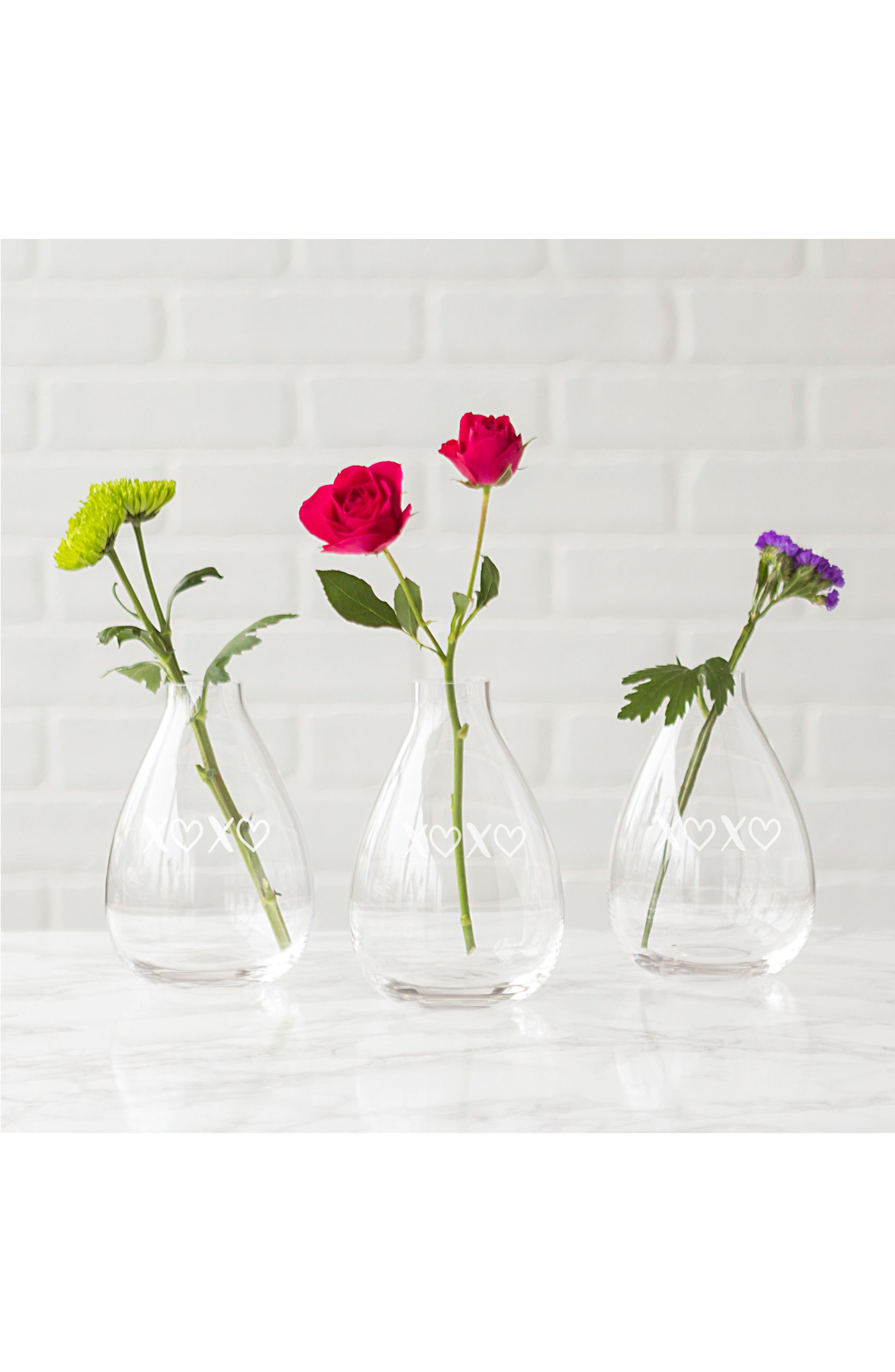 XOXO Glass Vase,                             Alternate thumbnail 3, color,                             100