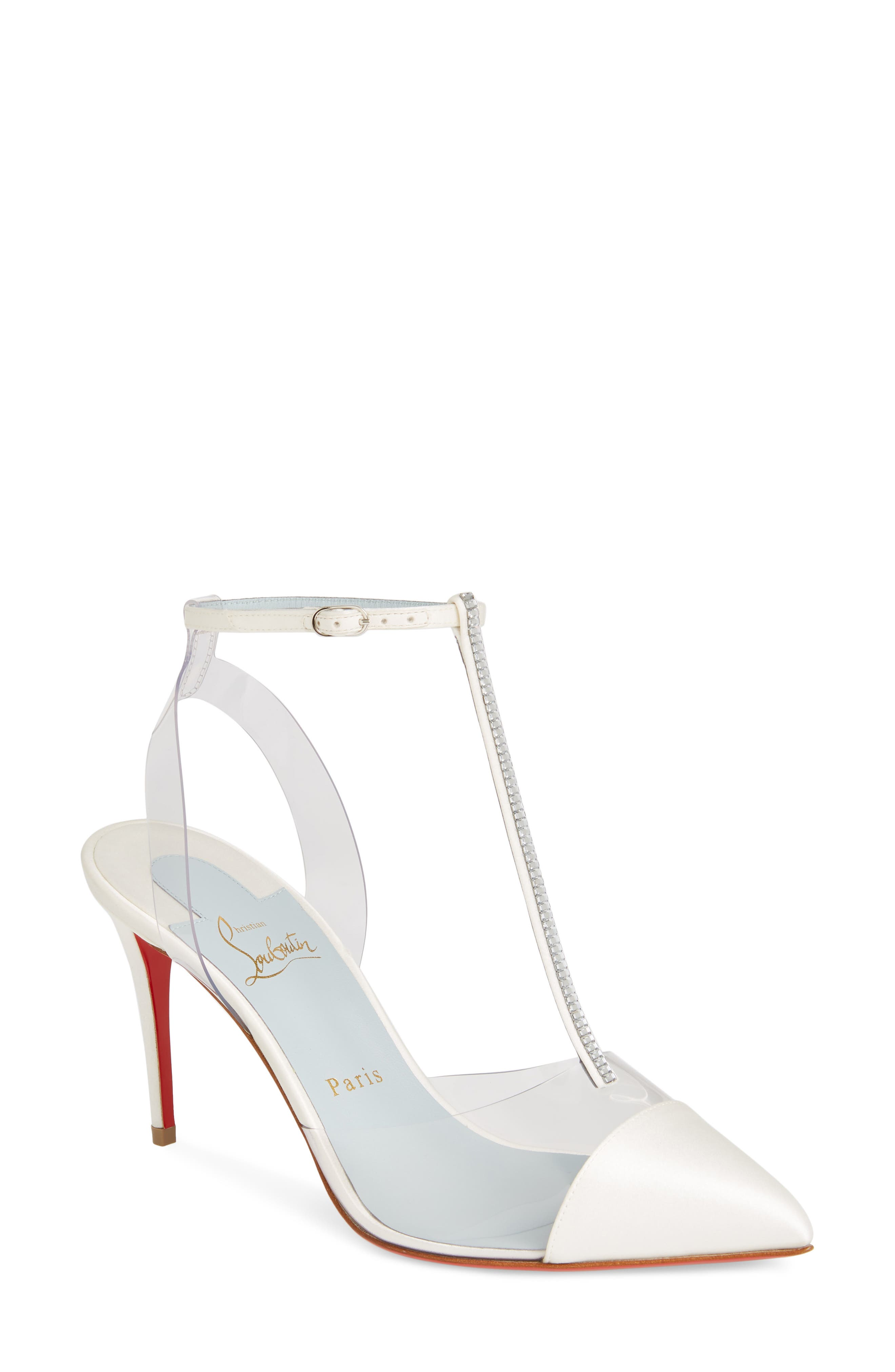CHRISTIAN LOUBOUTIN,                             Nosy Jewel Clear Pump,                             Main thumbnail 1, color,                             OFF WHITE