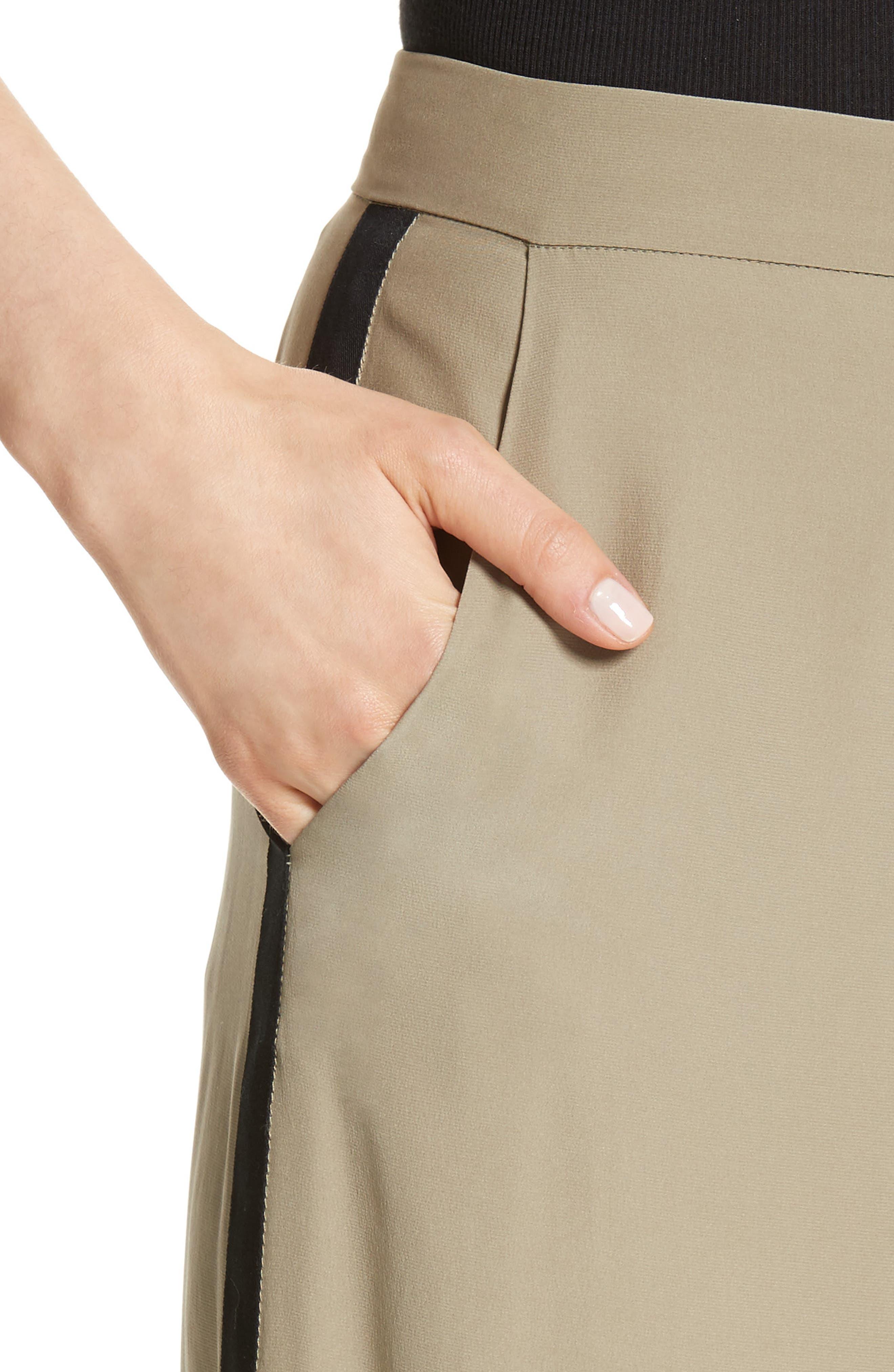 Satin Contrast Wide Leg Silk Pants,                             Alternate thumbnail 4, color,                             300