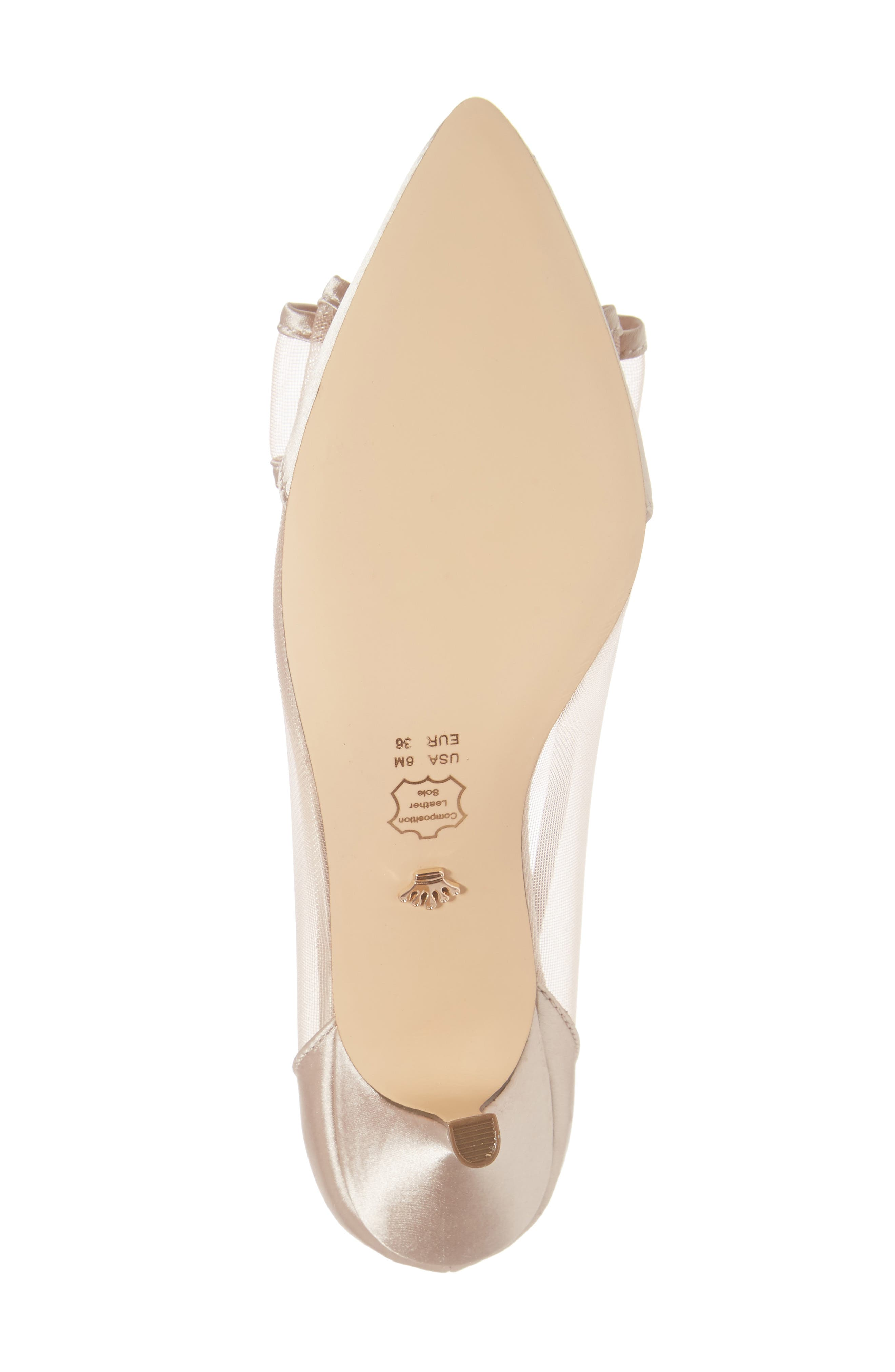 Bianca Pointy Toe Pump,                             Alternate thumbnail 6, color,                             CHAMPAGNE SATIN