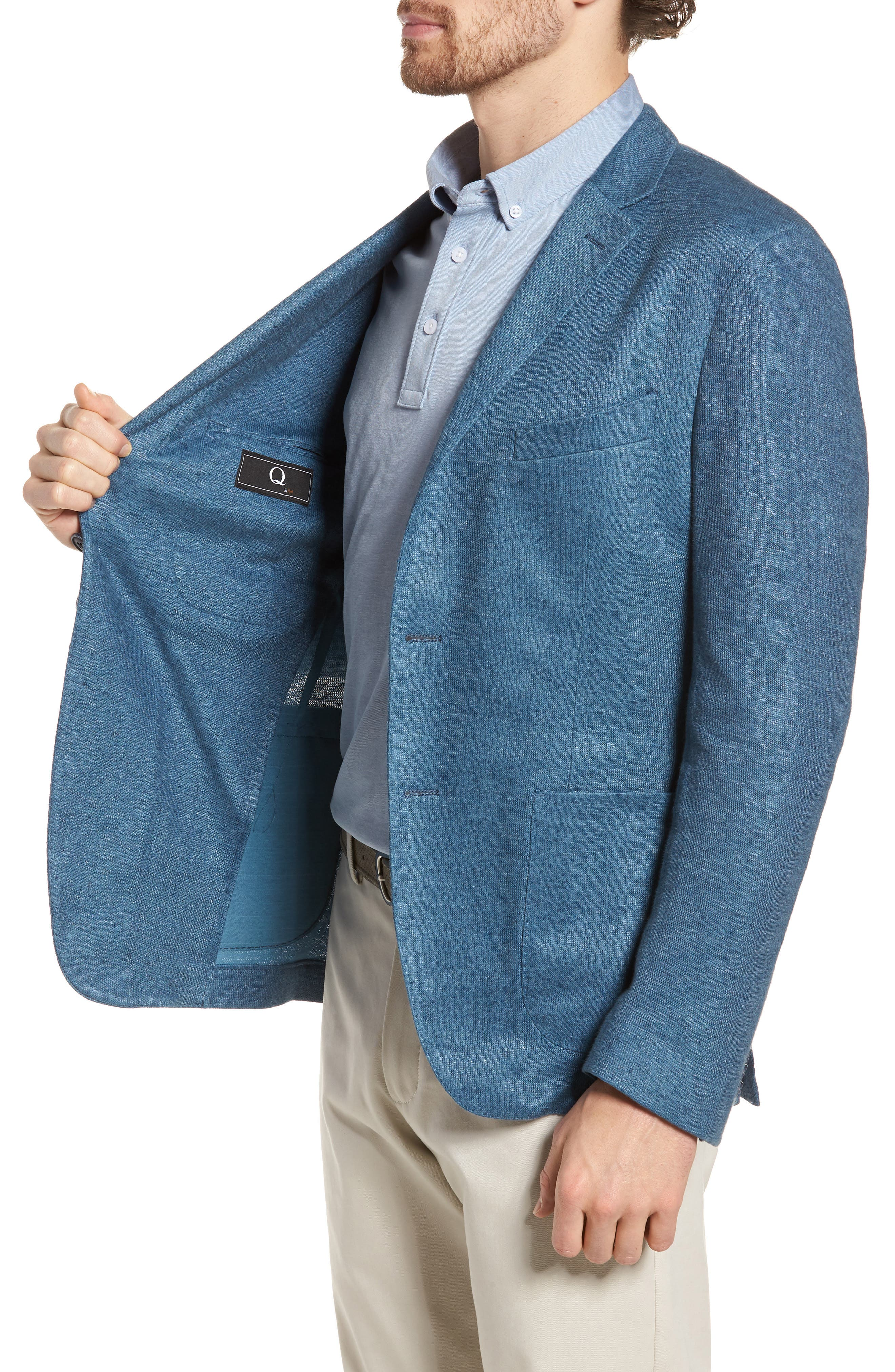 Trim Fit Heathered Jersey Blazer,                             Alternate thumbnail 3, color,                             420