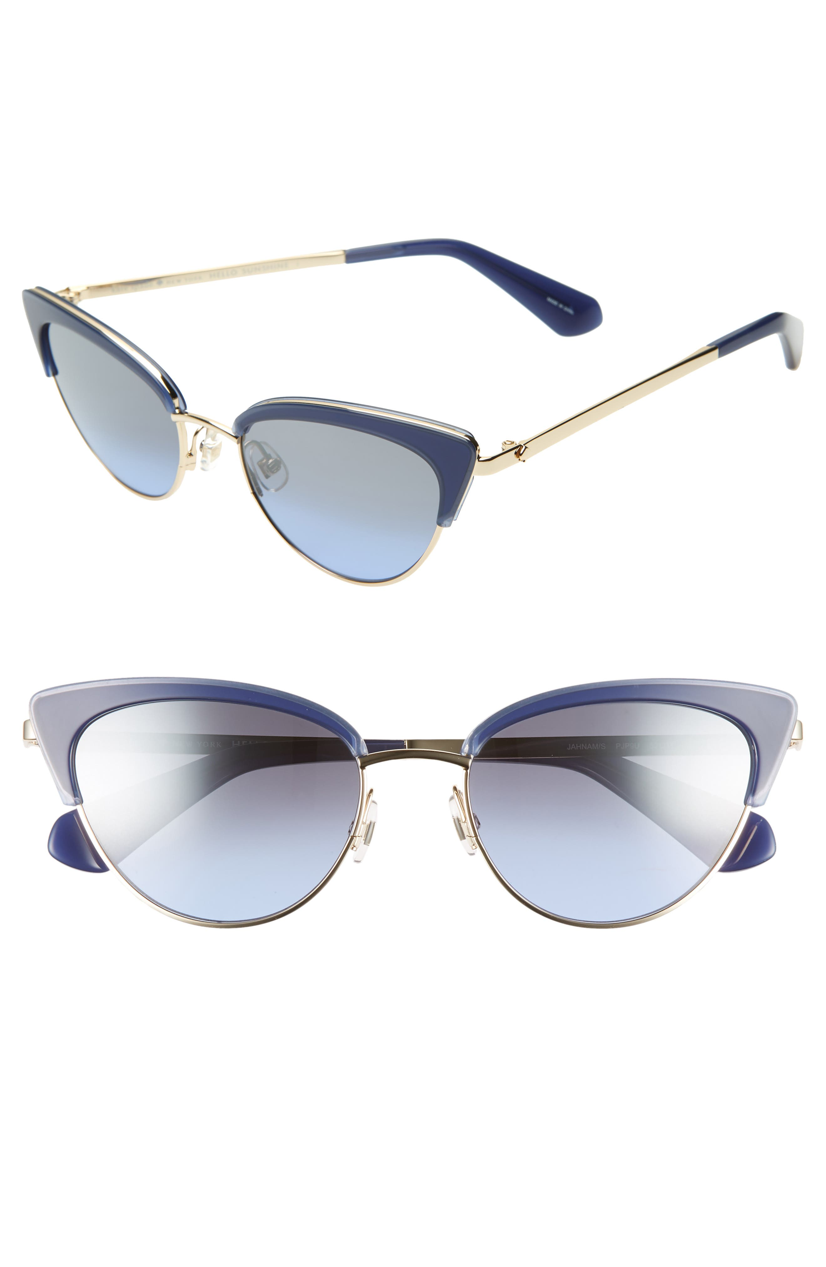 KATE SPADE NEW YORK,                             jahnams 52mm cat eye sunglasses,                             Main thumbnail 1, color,                             BLUE