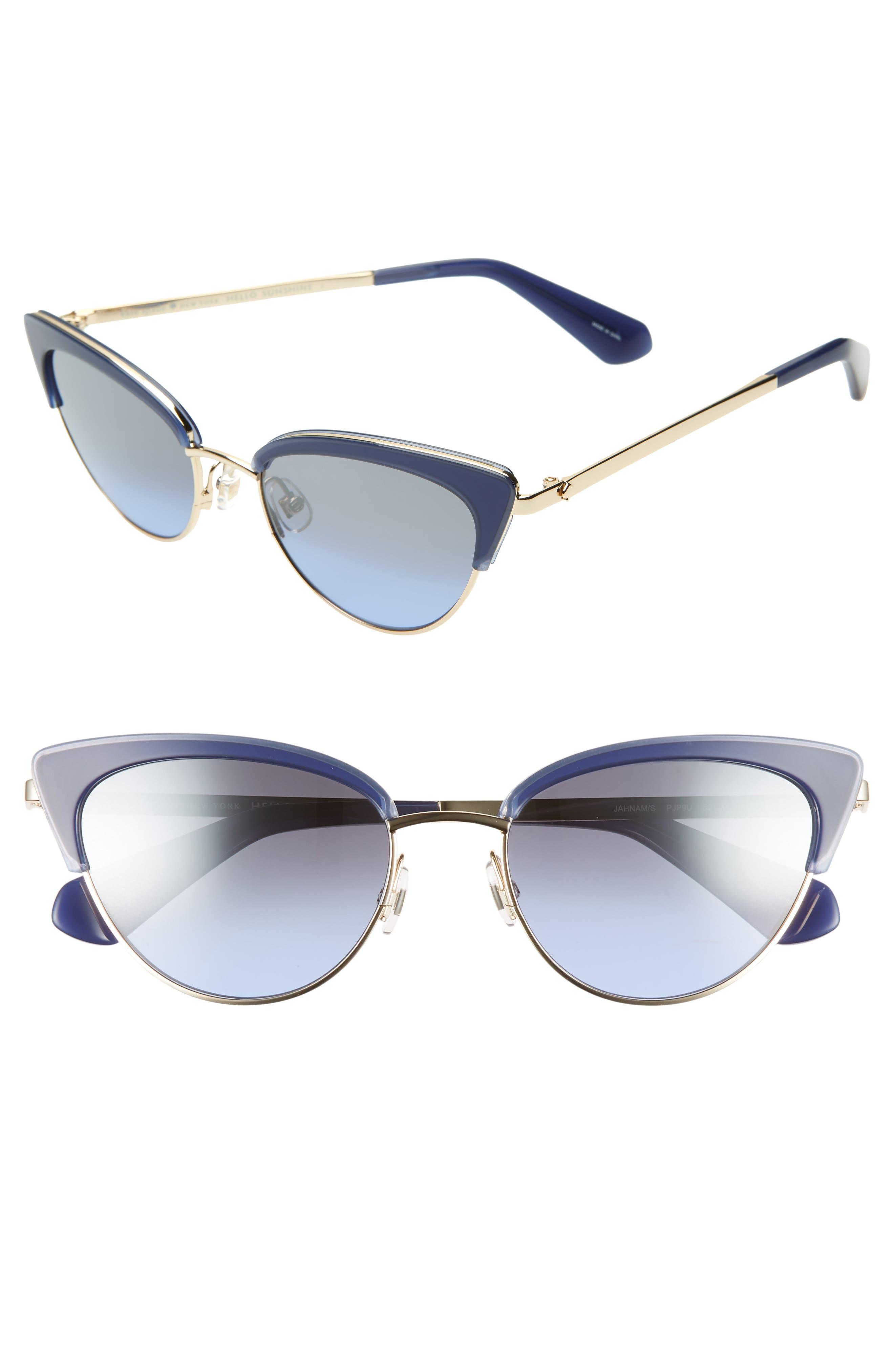 KATE SPADE NEW YORK jahnams 52mm cat eye sunglasses, Main, color, BLUE