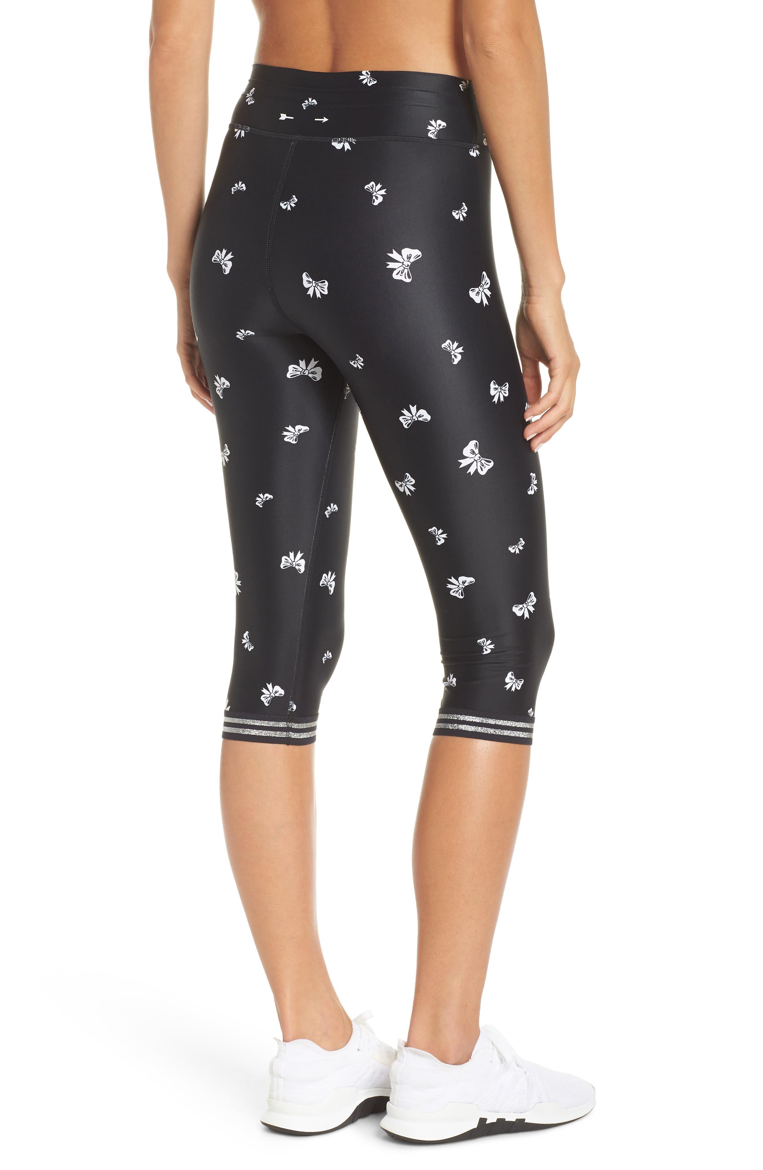 Bows Power Pant Crop Leggings,                             Alternate thumbnail 2, color,                             BLACK/ WHITE