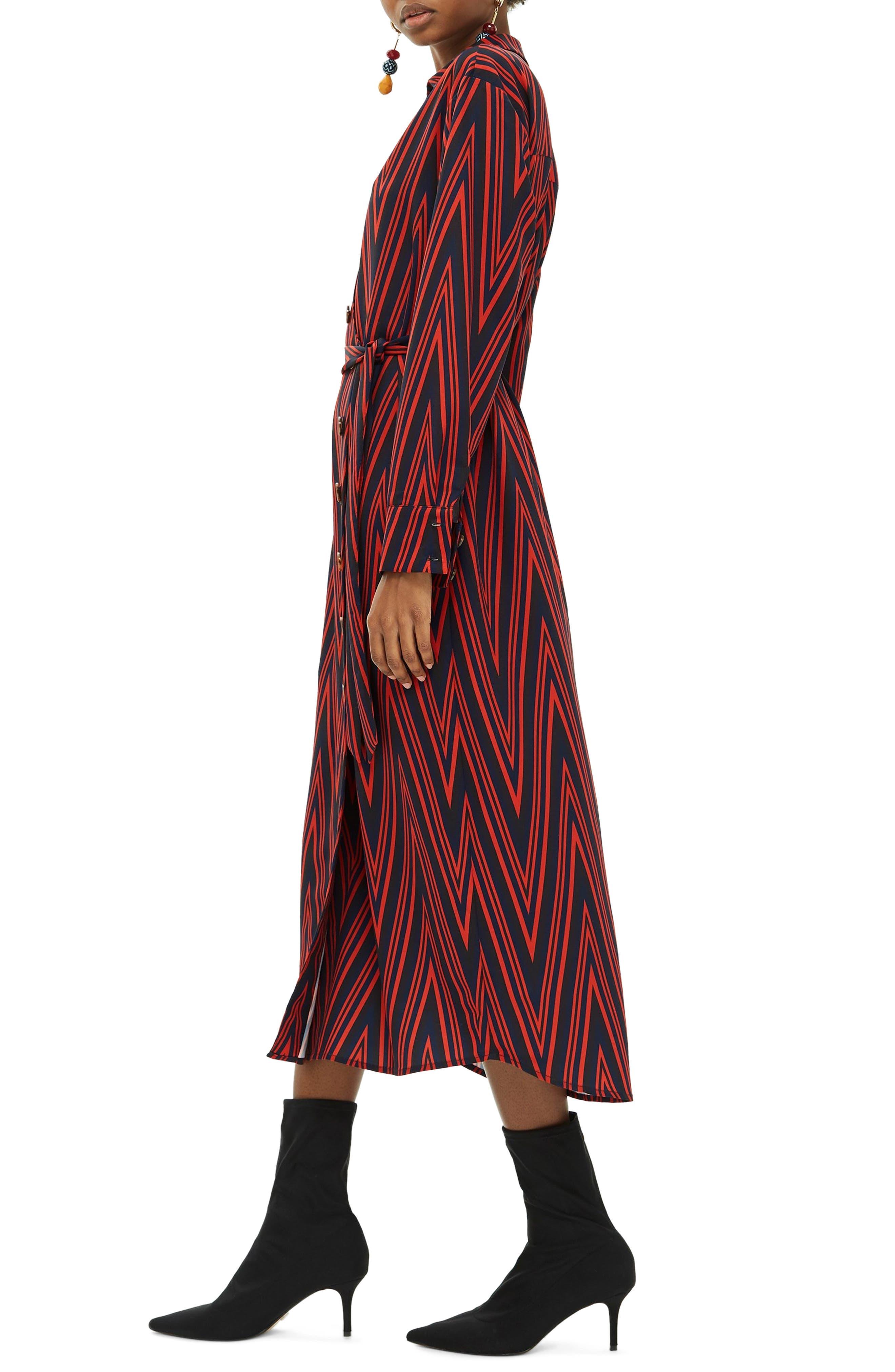 TOPSHOP,                             Horn Button Print Midi Dress,                             Alternate thumbnail 3, color,                             220