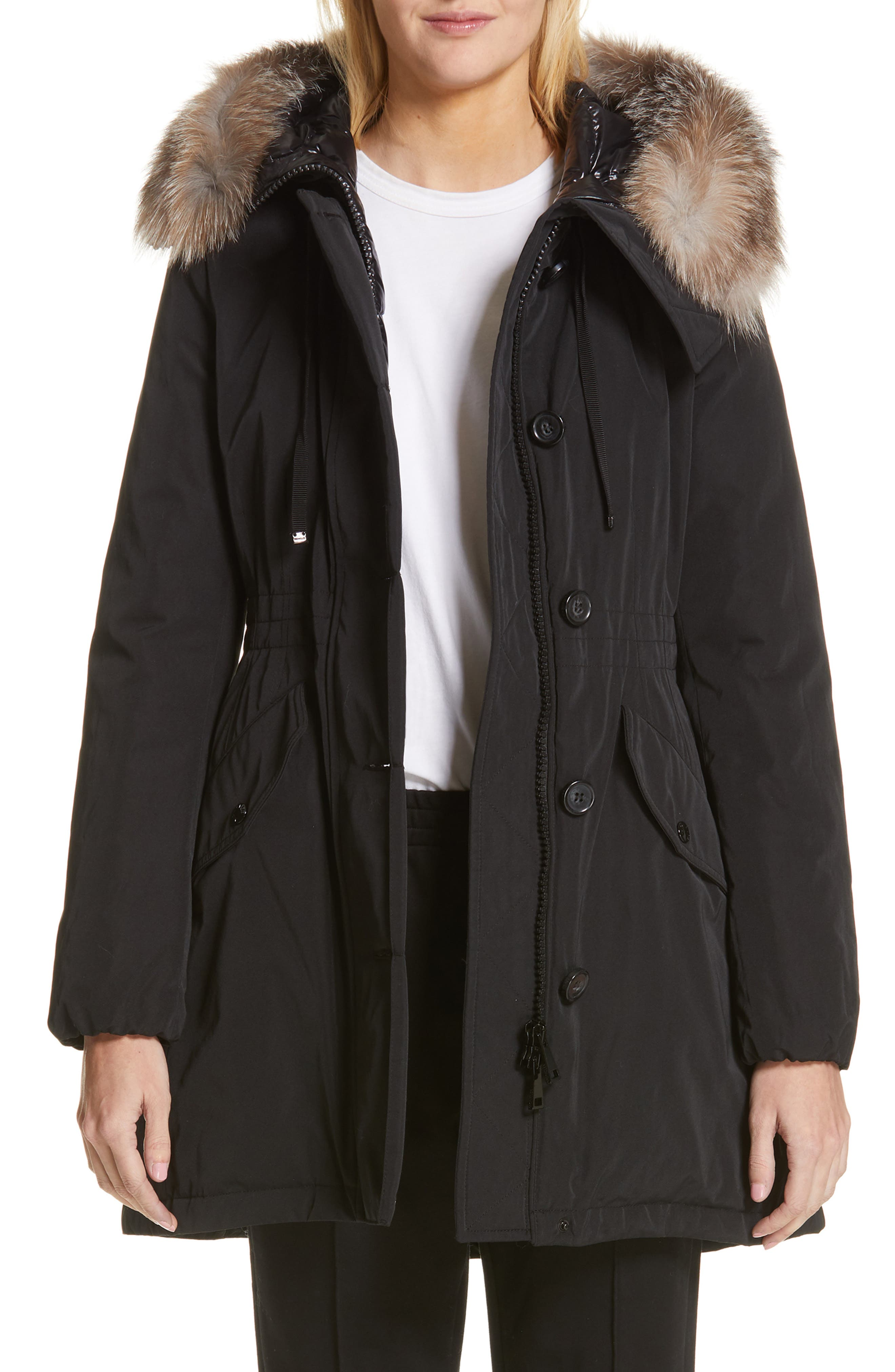 Monticole Hooded Down Coat with Removable Genuine Fox Fur Trim,                         Main,                         color, BLACK