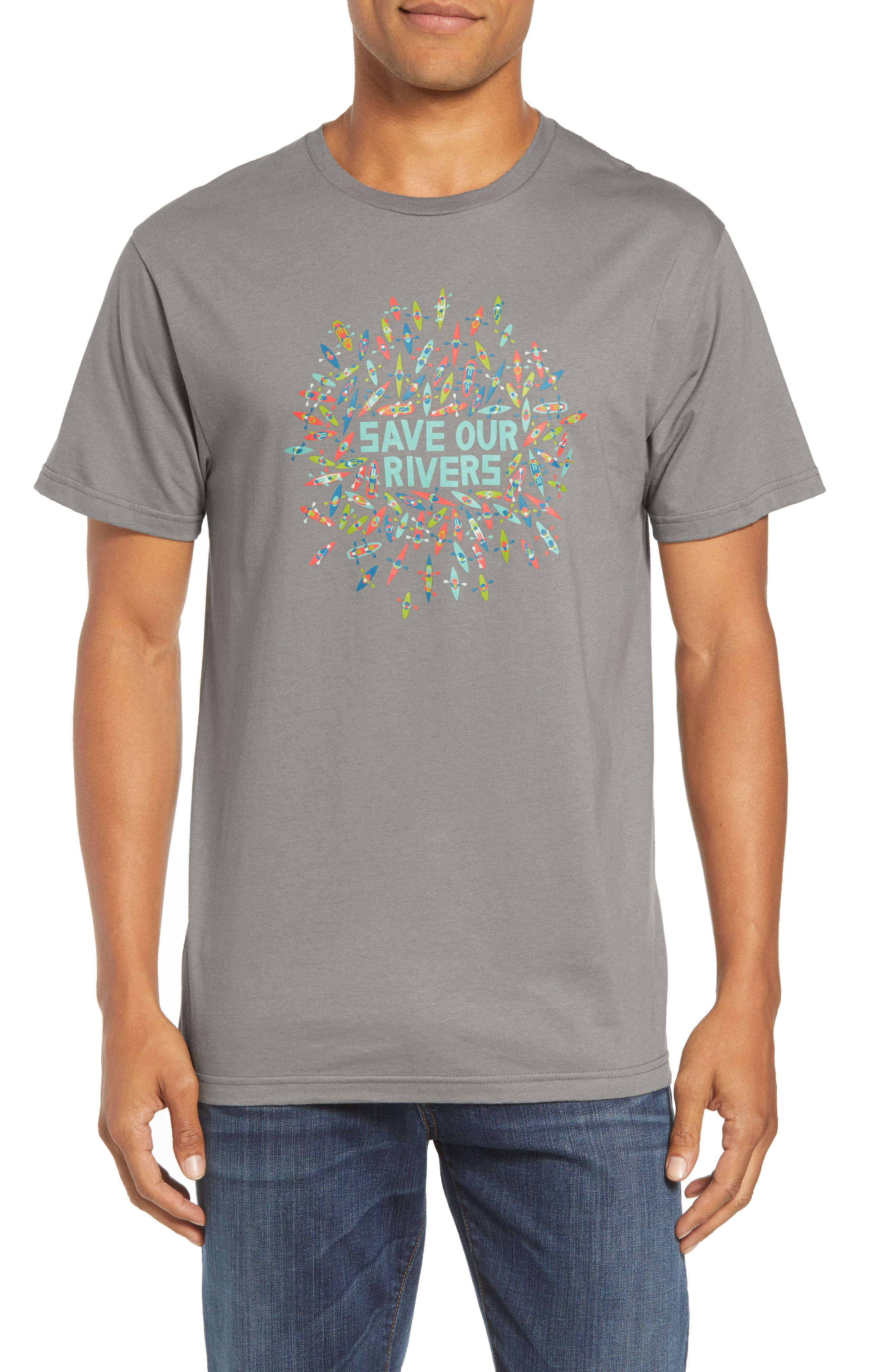 Save Our Rivers Organic Cotton Graphic T-Shirt,                             Main thumbnail 1, color,                             FEATHER GREY