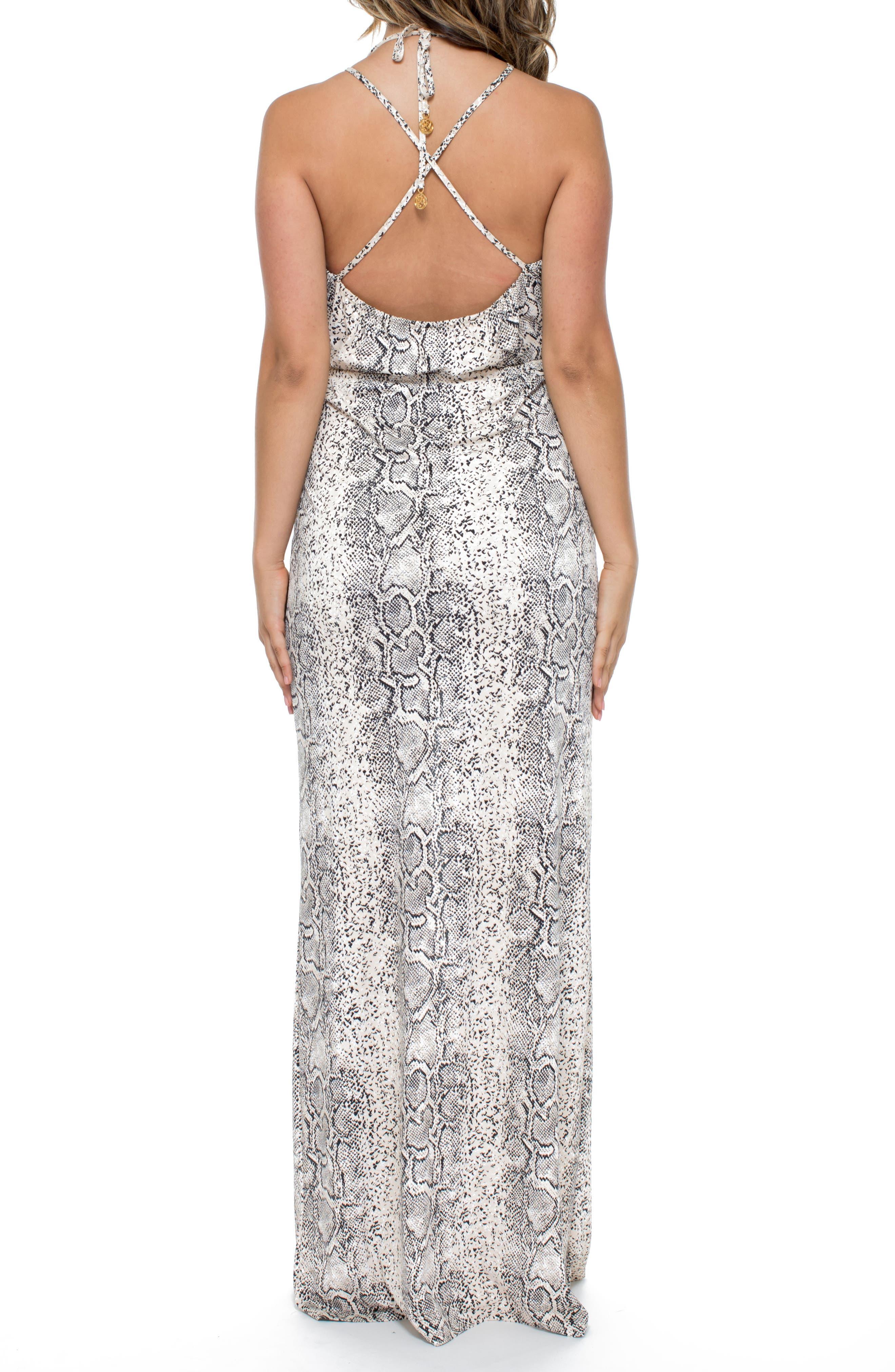 Snake Print Cover-Up Maxi Dress,                             Alternate thumbnail 2, color,                             250
