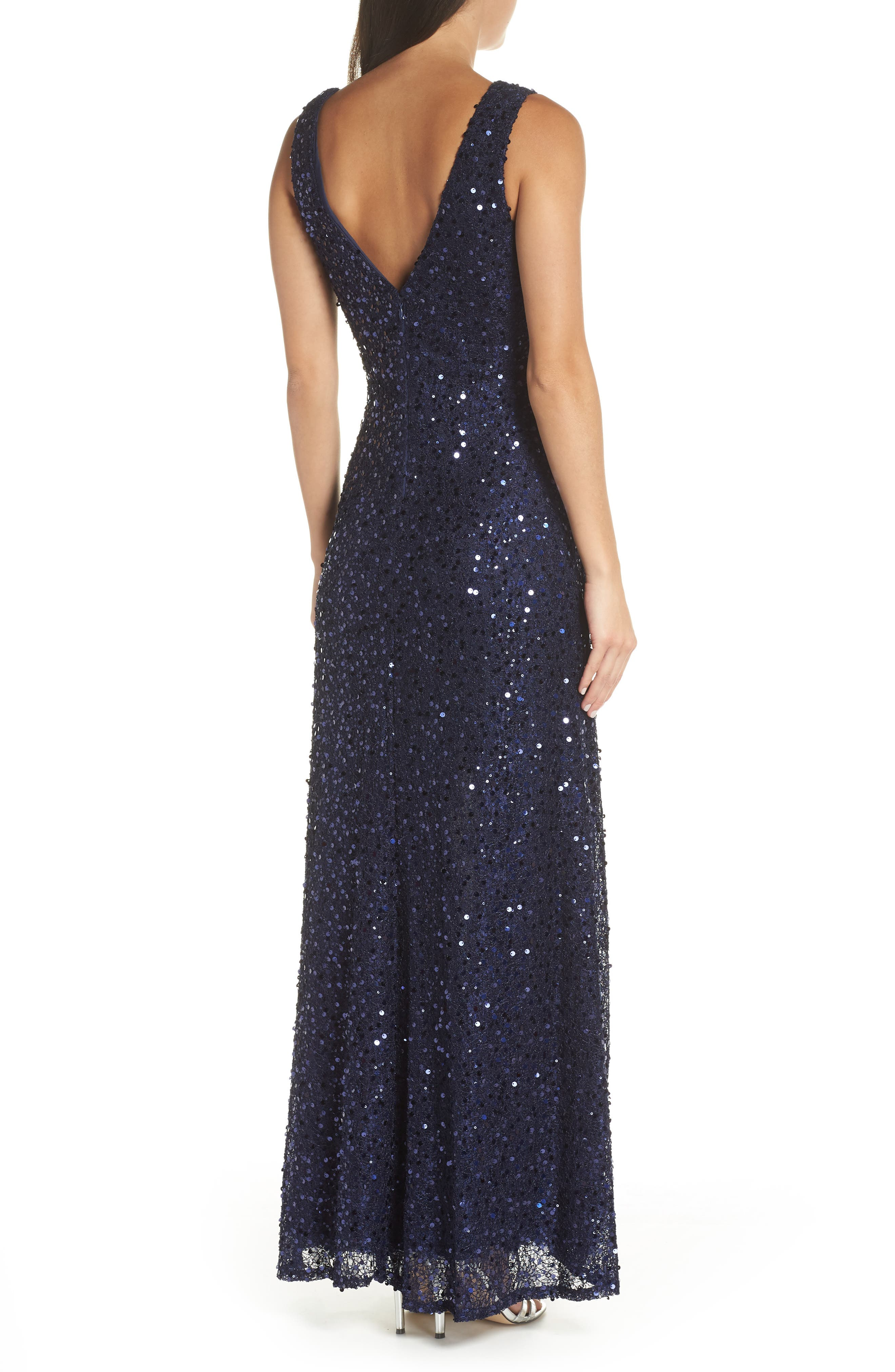 MORGAN & CO.,                             Sequin & Lace Gown,                             Alternate thumbnail 2, color,                             NAVY