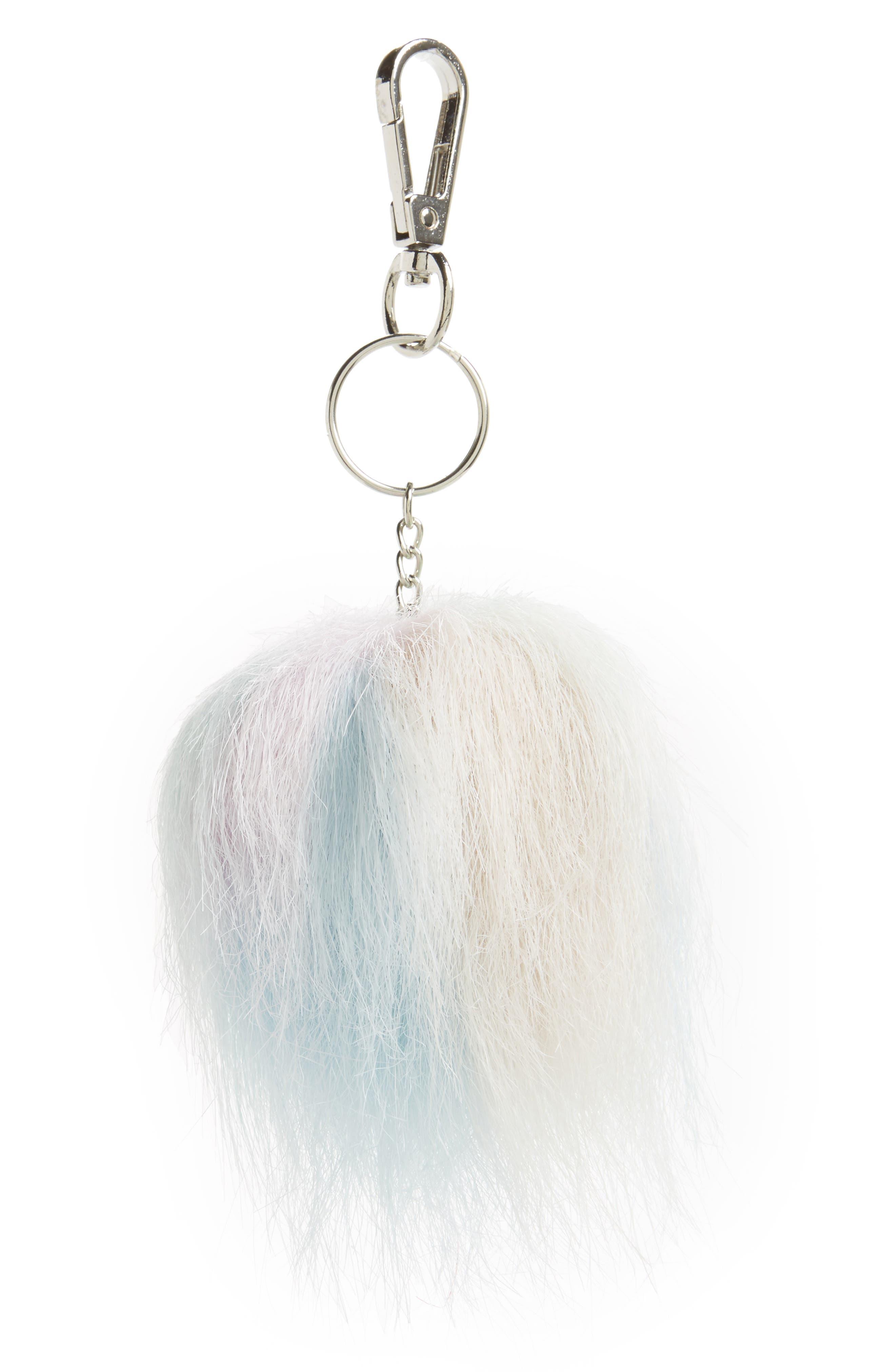 Pastel Faux Fur Pom Key Ring, Main, color, 000