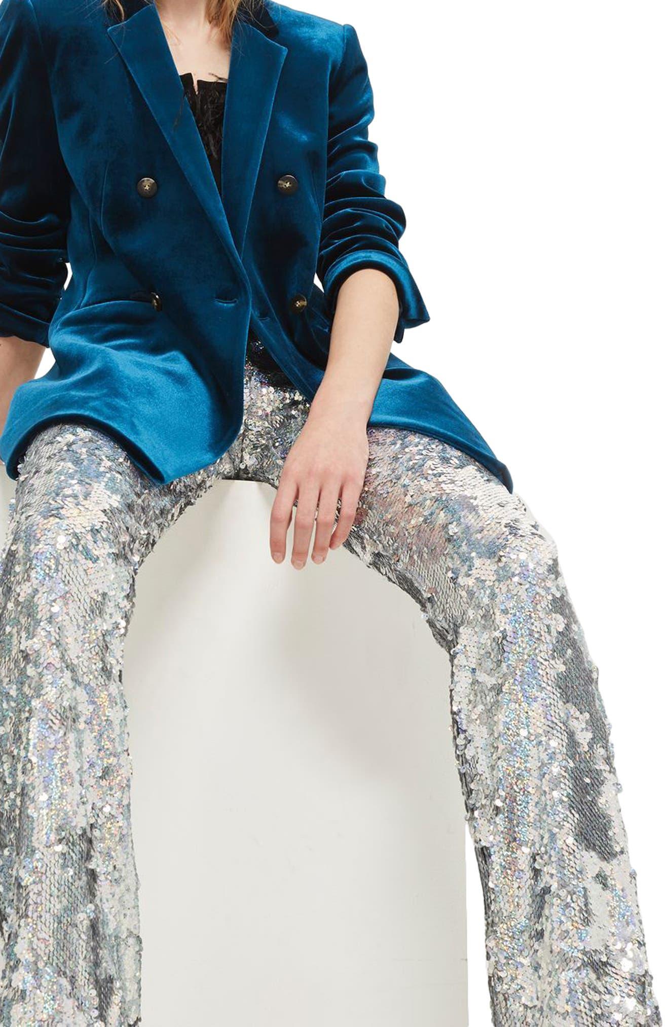 Premium Sequin Flare Leg Trousers,                             Alternate thumbnail 3, color,                             040