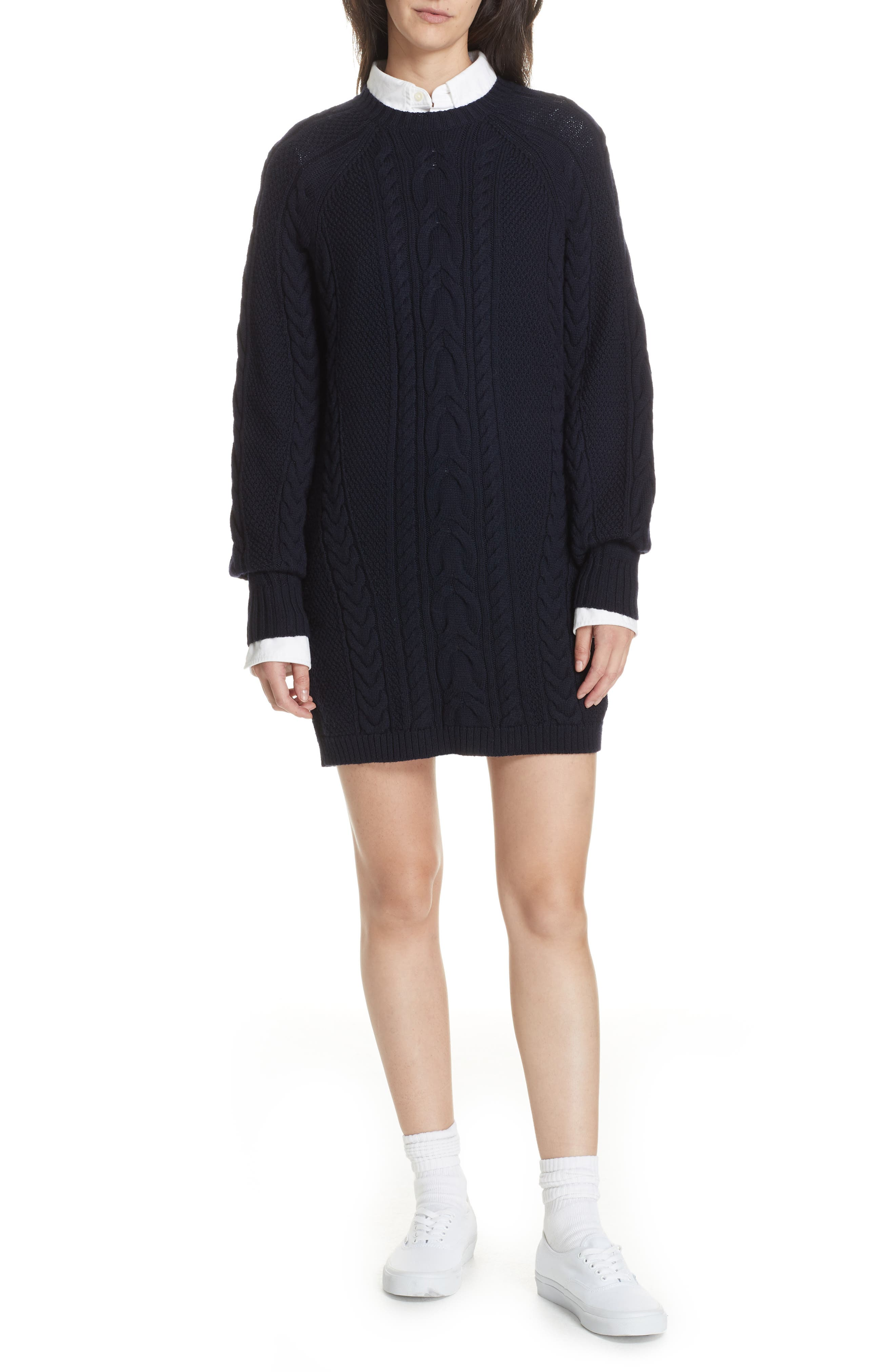 Cable Sweater Dress,                             Alternate thumbnail 7, color,                             410
