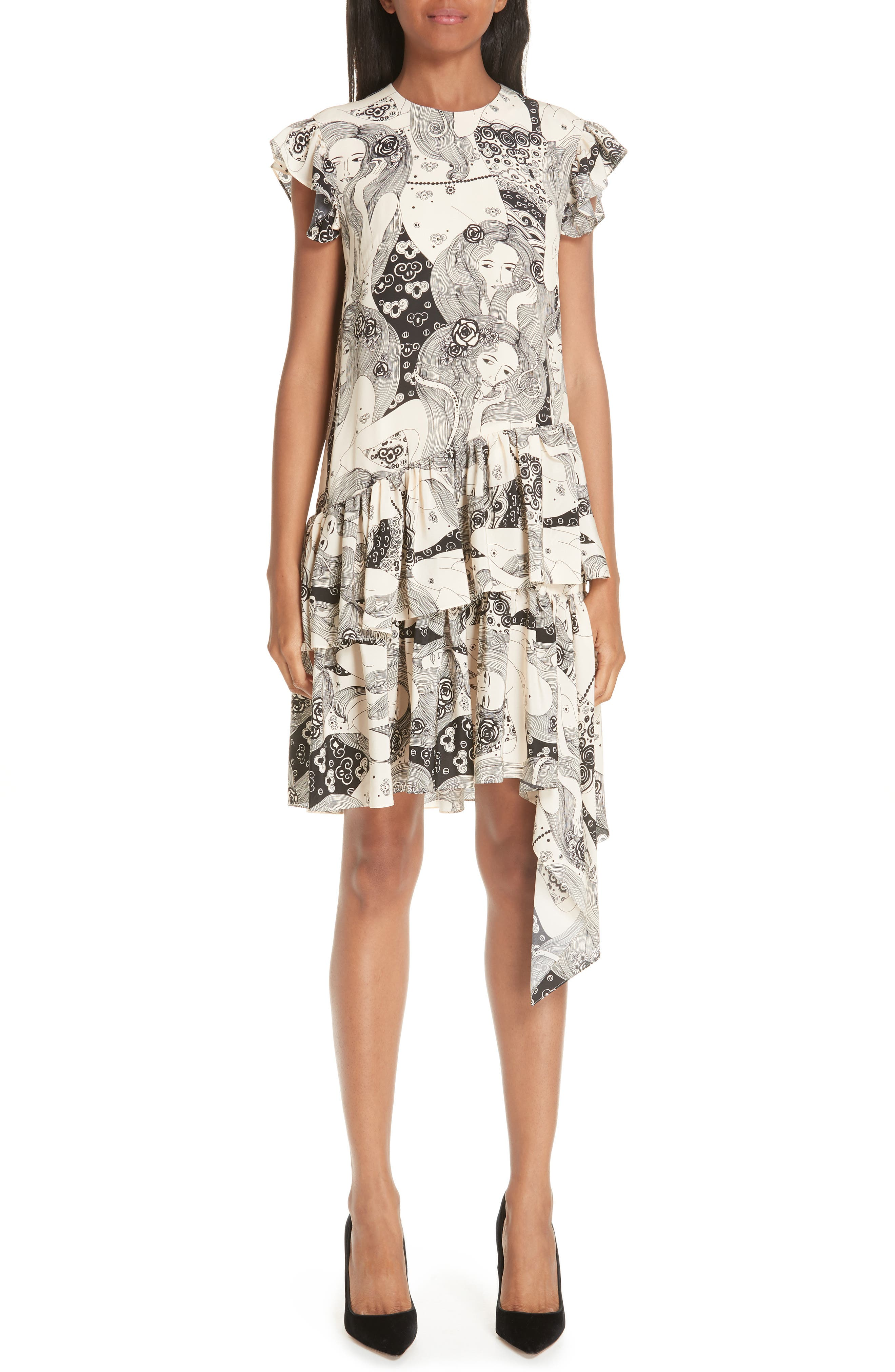 Alexander Mcqueen Eve Print Asymmetrical Silk Dress, 8 IT - Ivory