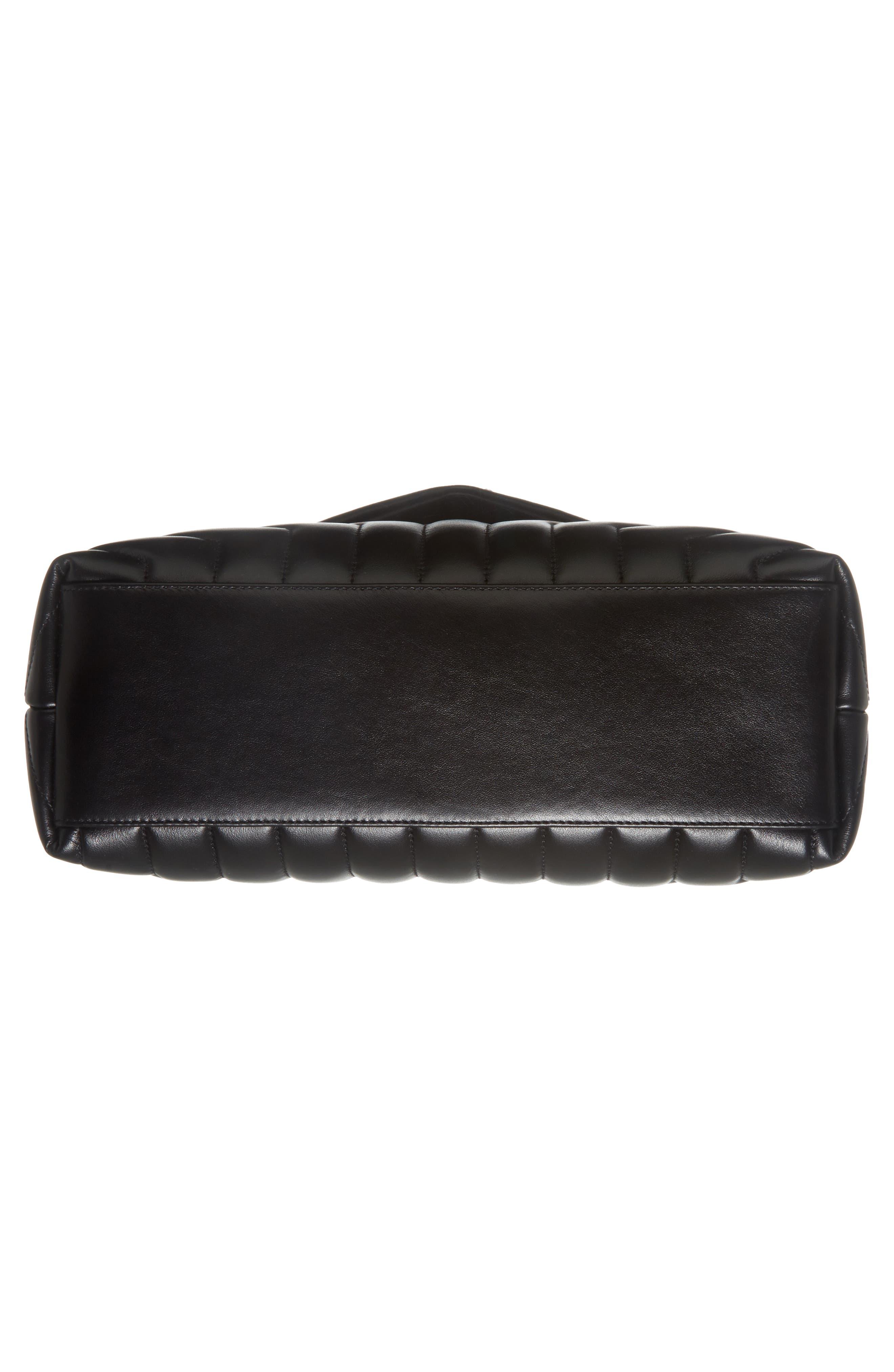 Medium Loulou Matelassé Calfskin Leather Shoulder Bag,                             Alternate thumbnail 6, color,                             NOIR/ GOLD