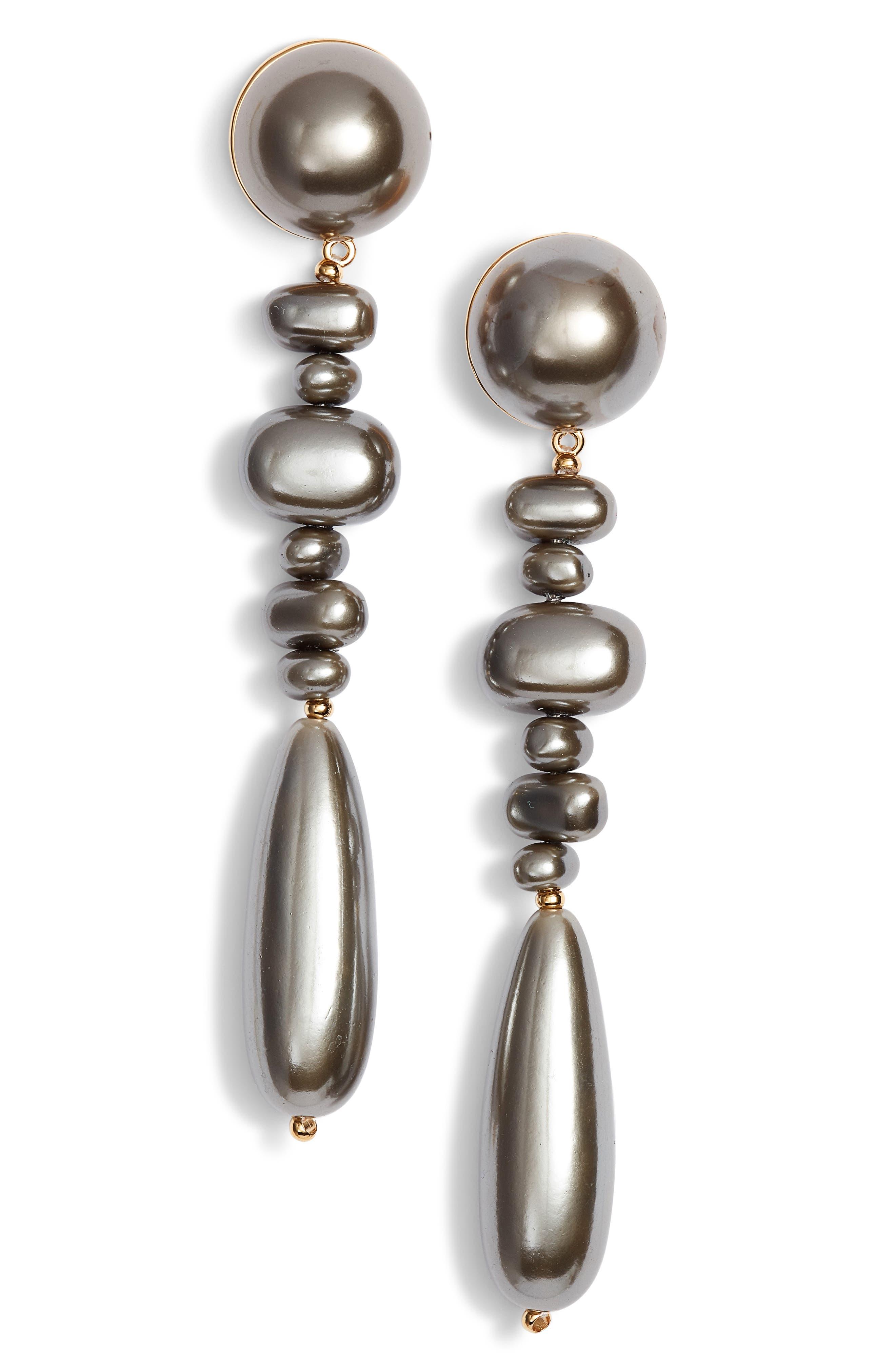 Copacabana Drop Earrings,                         Main,                         color, BLACK PEARL