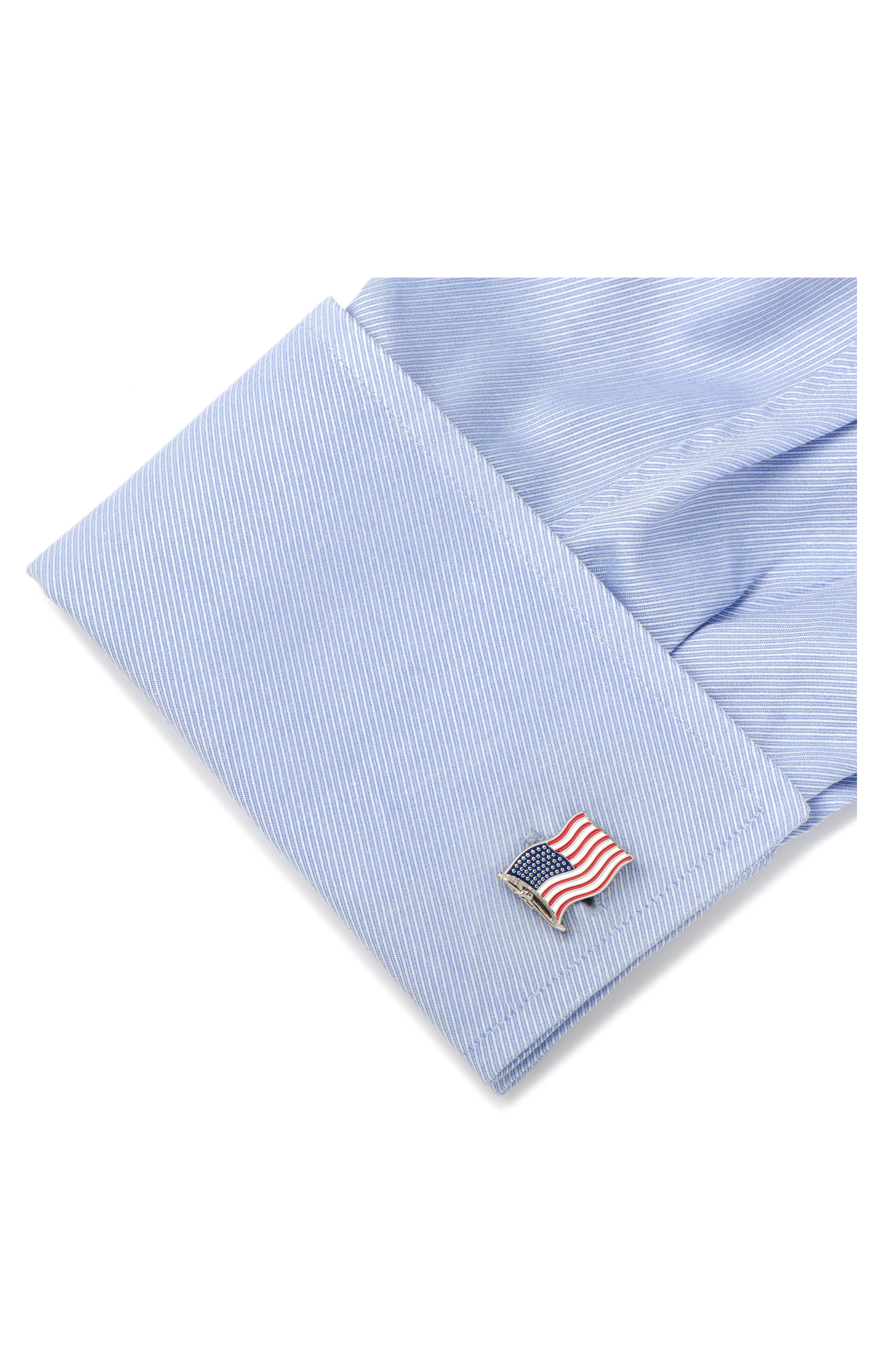 Waving American Flag Cuff Links,                             Alternate thumbnail 2, color,                             RED