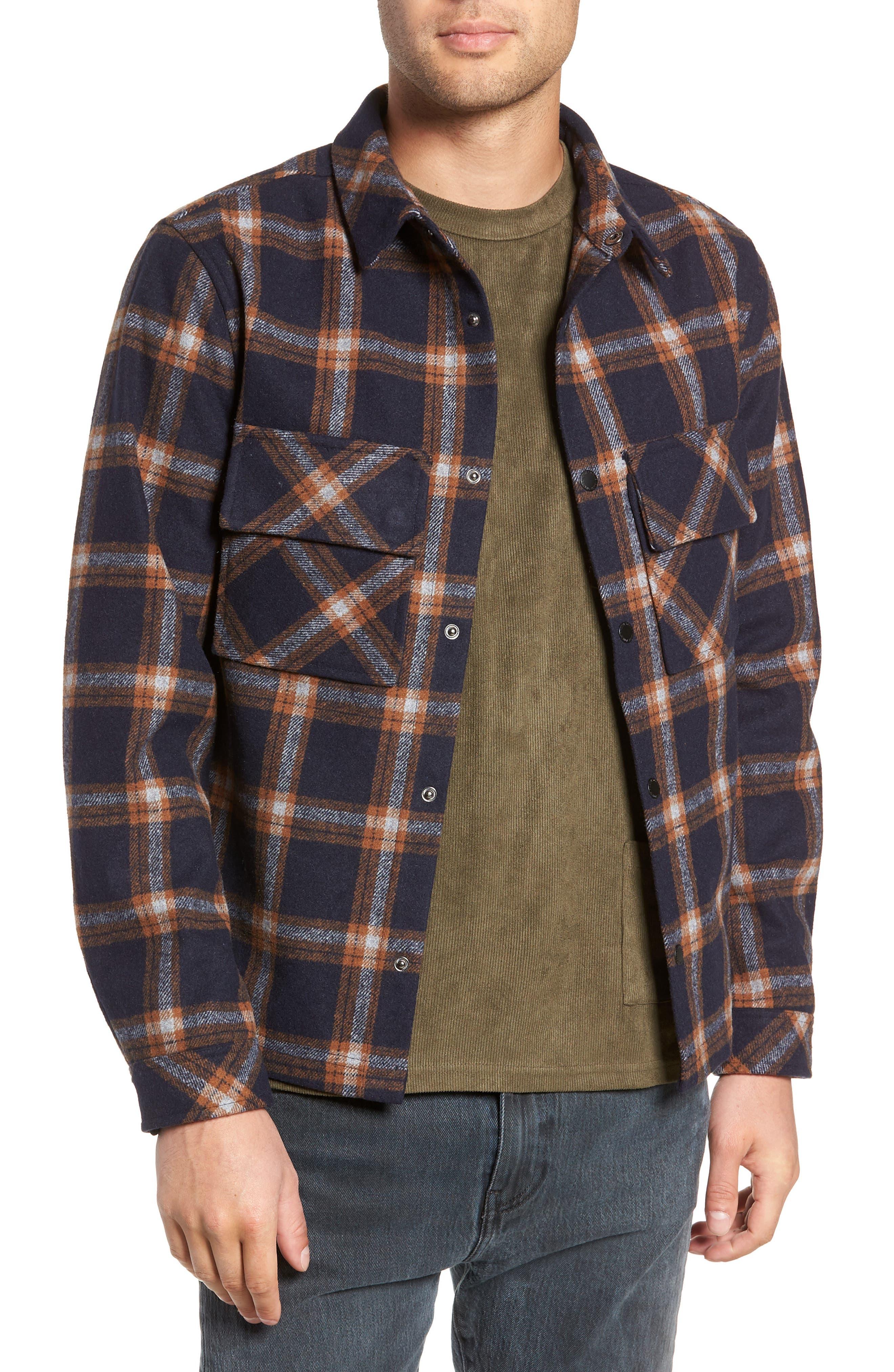 NATIVE YOUTH,                             Check Flannel Shirt,                             Main thumbnail 1, color,                             NAVY