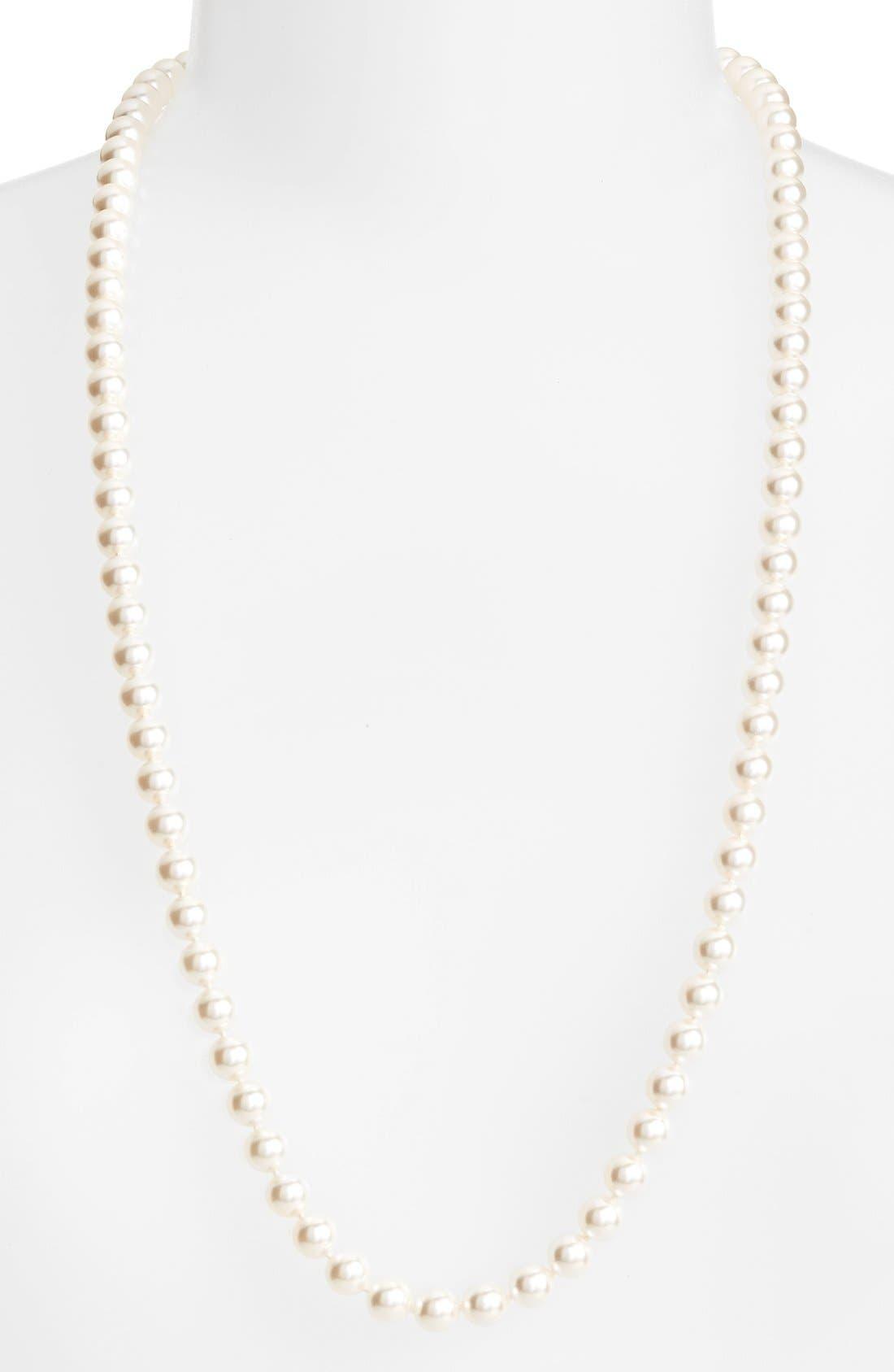 Long Imitation Pearl Necklace,                             Main thumbnail 1, color,                             IVORY