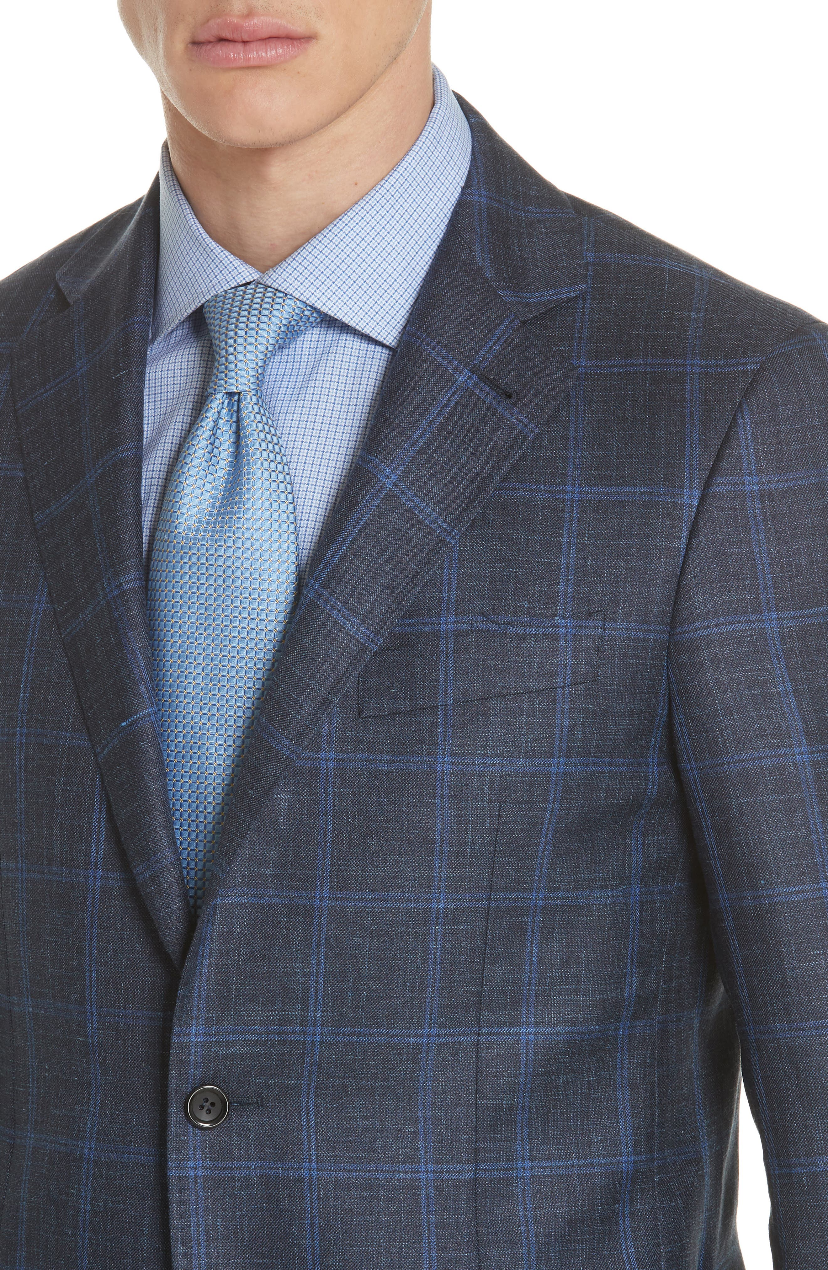 Classic Fit Wool Blend Windowpane Sport Coat,                             Alternate thumbnail 4, color,