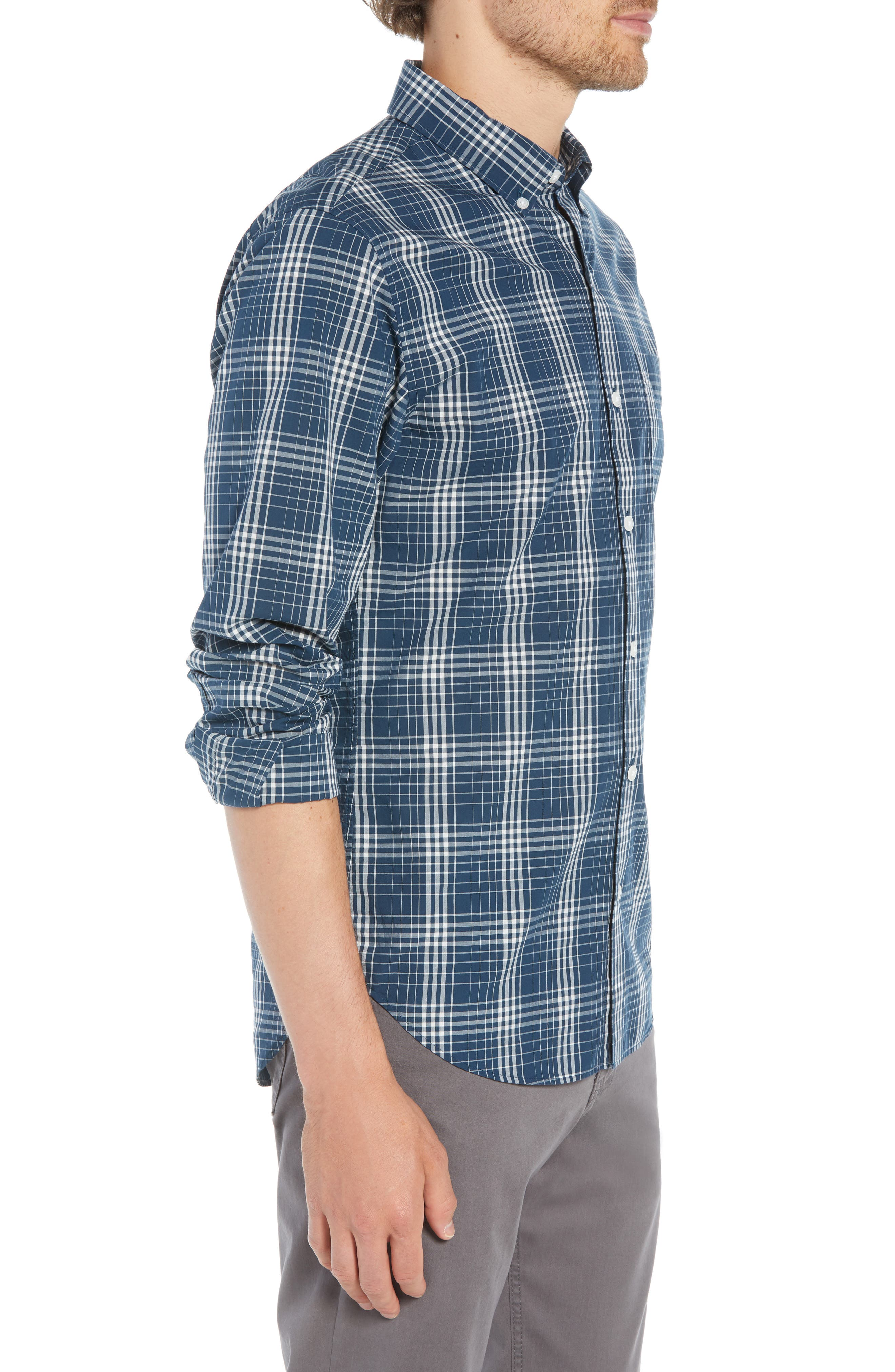 Summerweight Slim Fit Plaid Sport Shirt,                             Alternate thumbnail 4, color,                             400