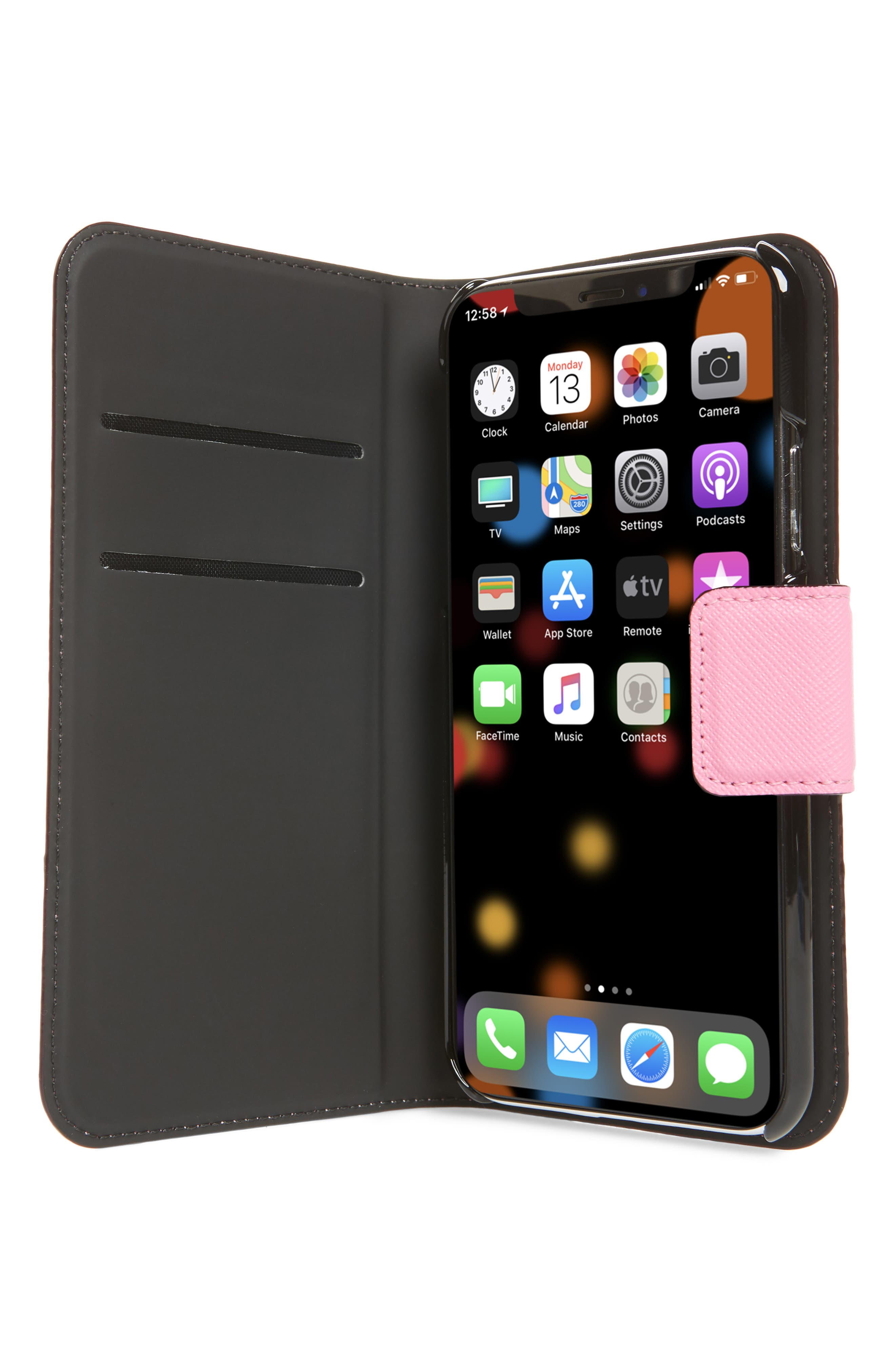 leather wrap iPhone X/Xs folio case,                             Alternate thumbnail 2, color,                             691
