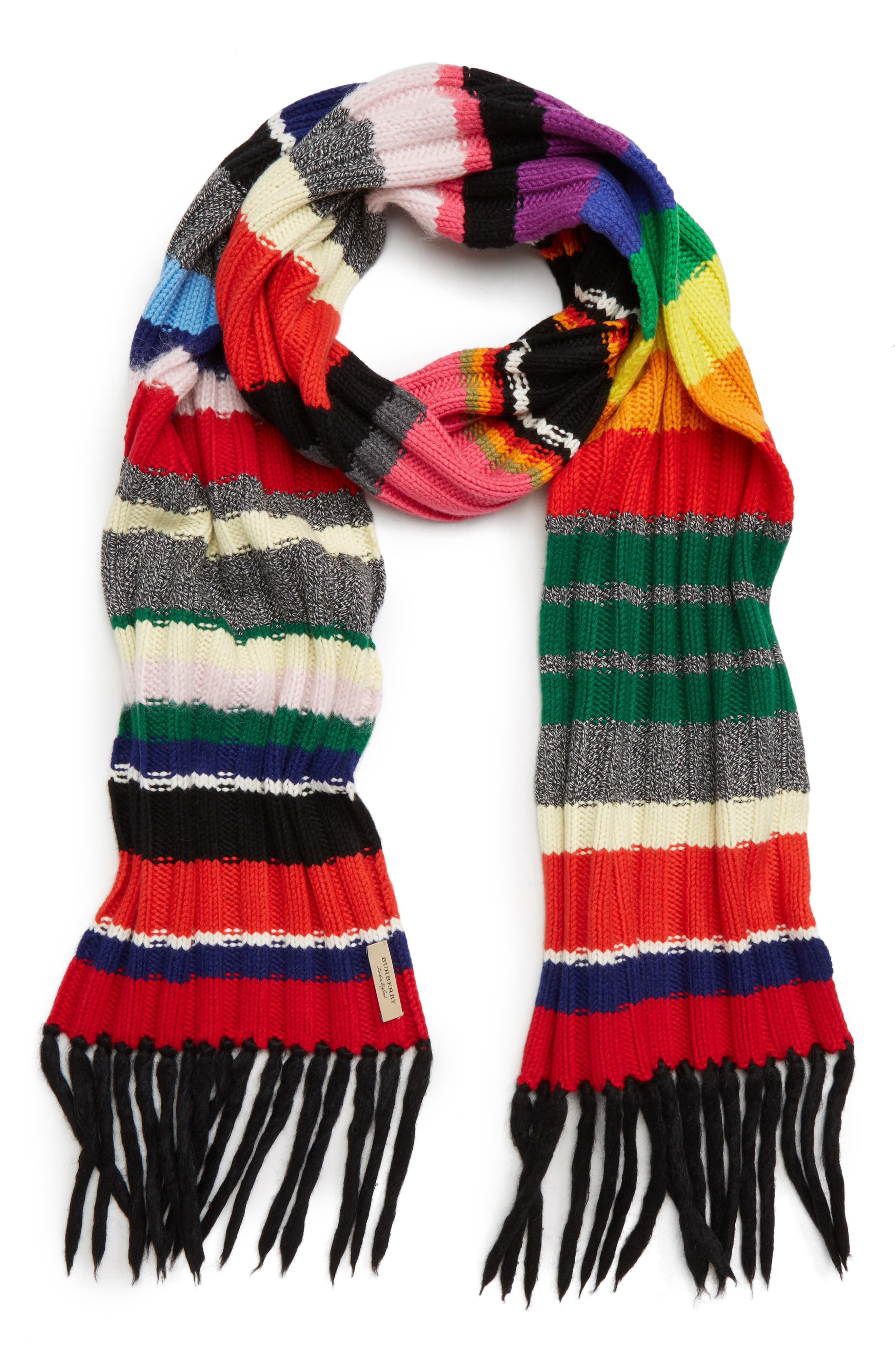 Rainbow Placement Knit Scarf,                             Alternate thumbnail 3, color,                             300