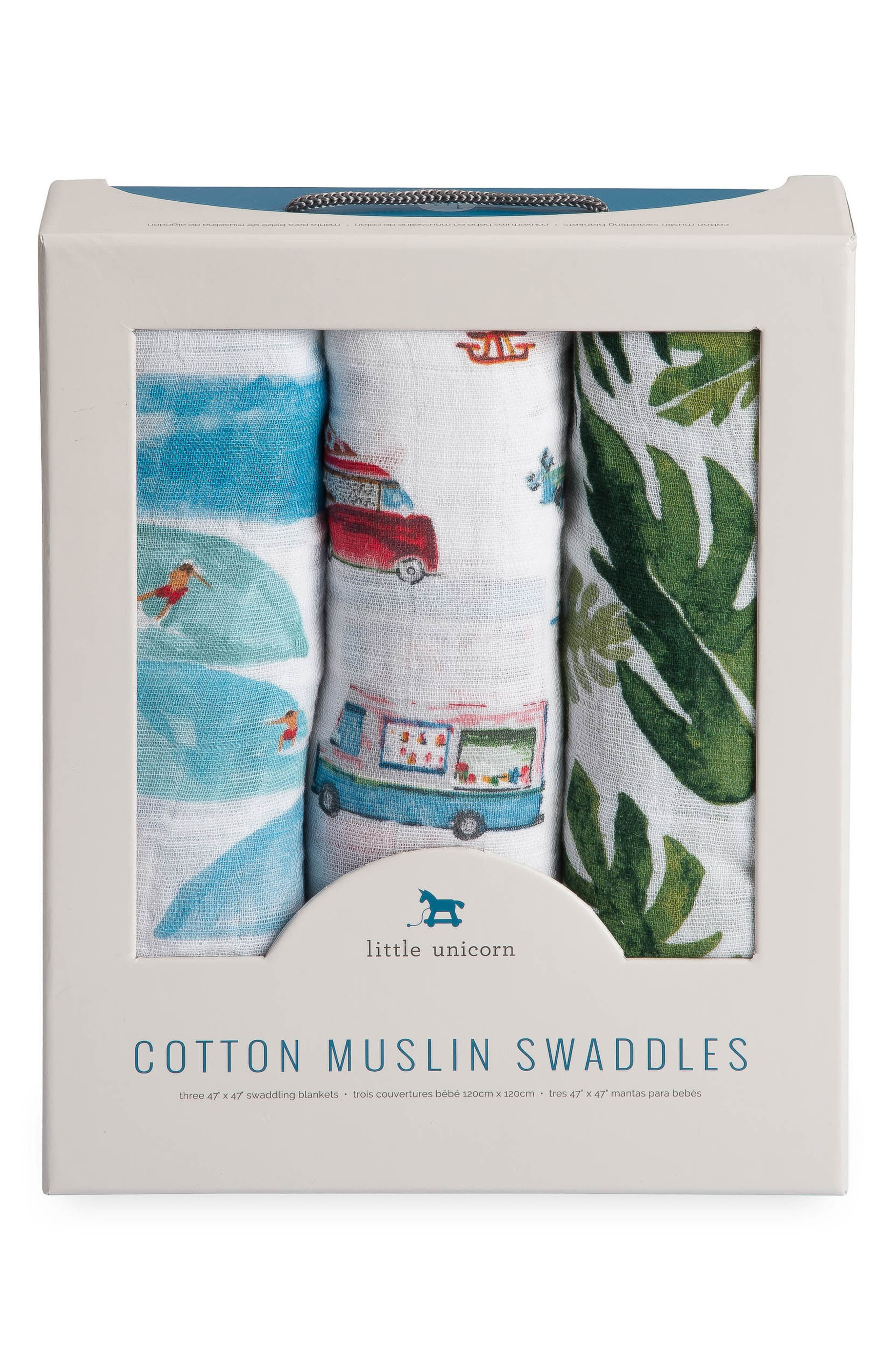 3-Pack Cotton Muslin Blankets,                             Alternate thumbnail 2, color,                             SUMMER VIBE