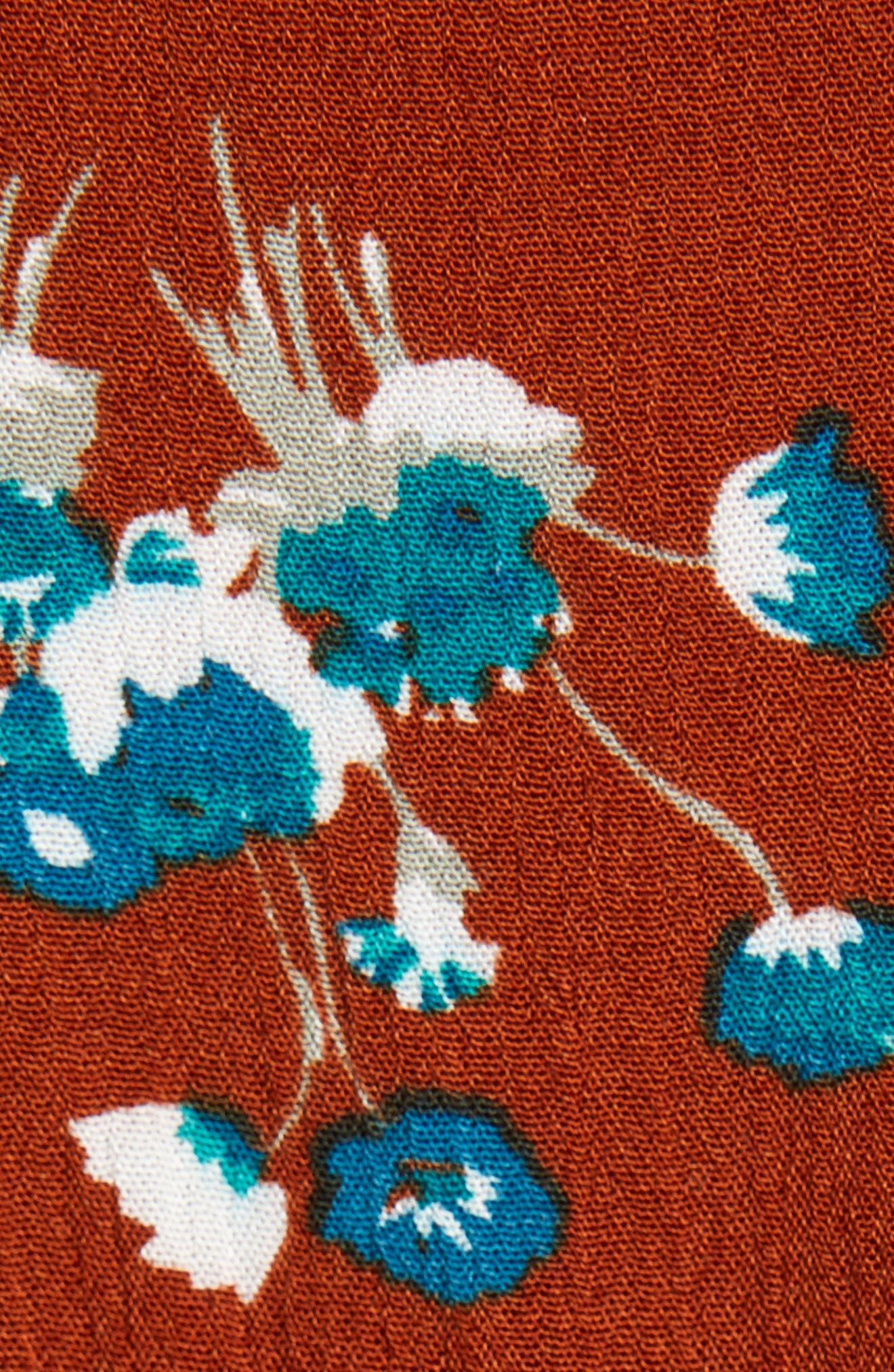 Blouson Midi Dress,                             Alternate thumbnail 6, color,                             BROWN SPICE FLORAL