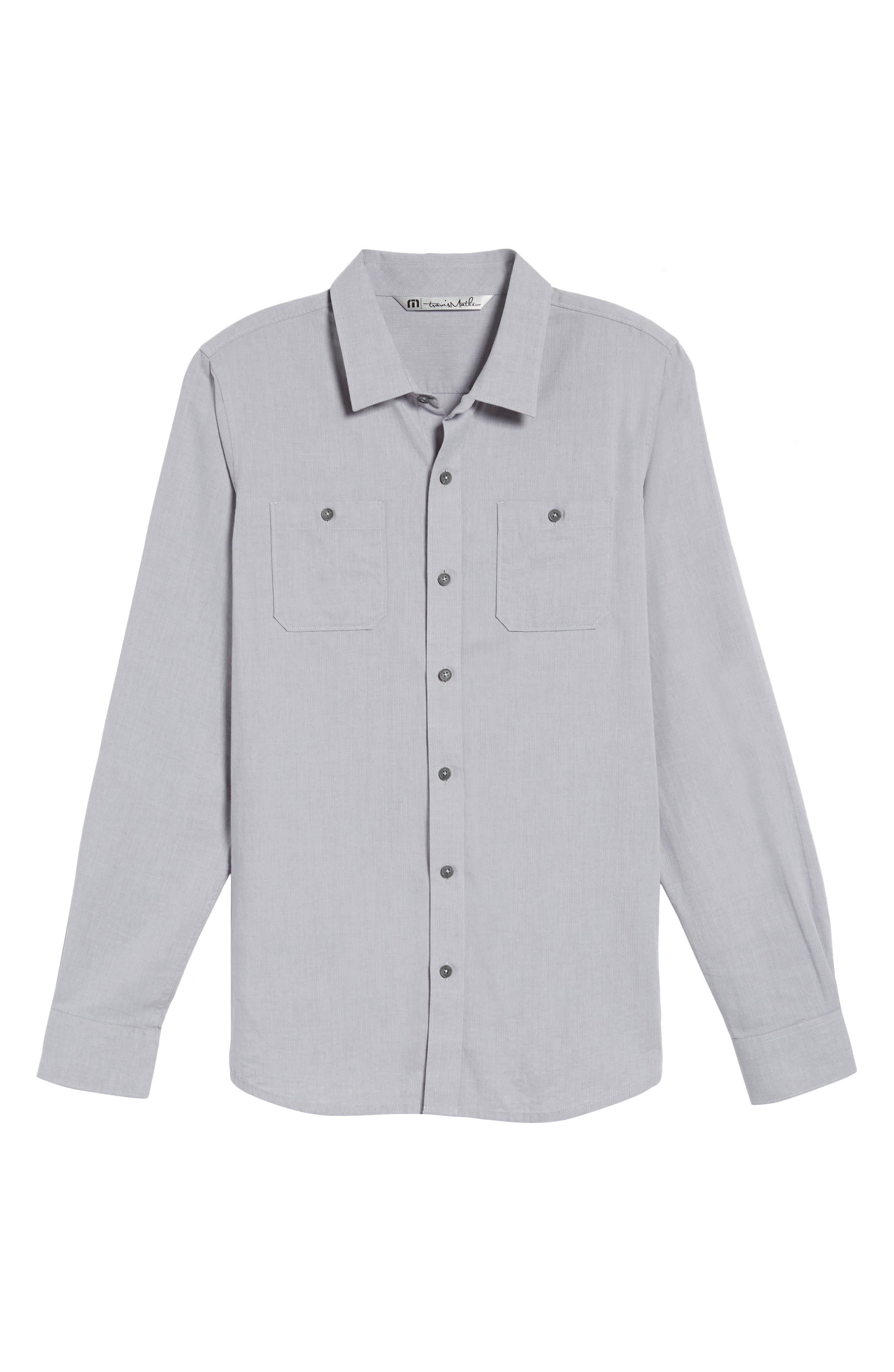 Gotemba Slim Fit Herringbone Sport Shirt,                             Alternate thumbnail 6, color,