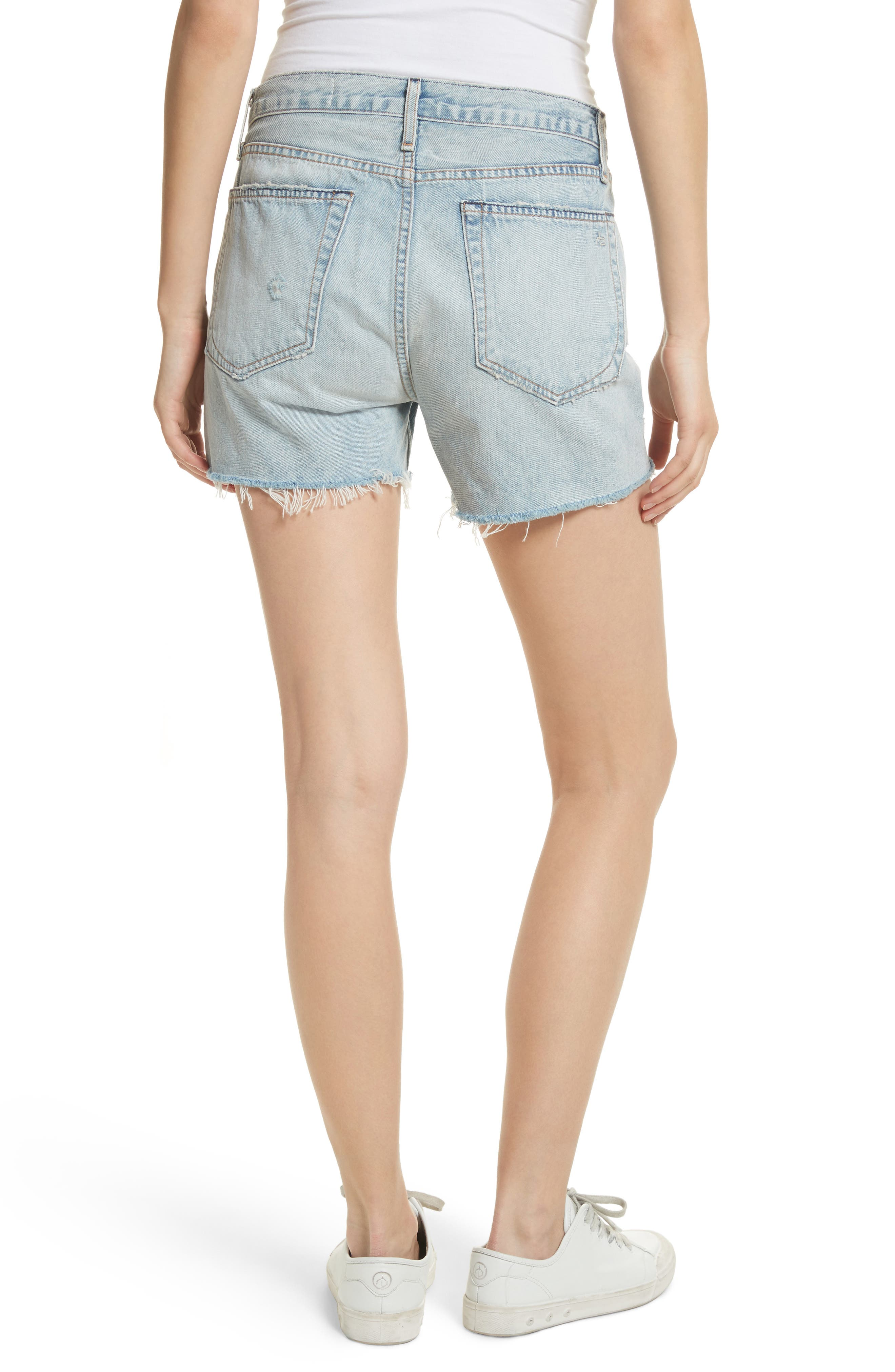 Boy Fray Denim Shorts,                             Alternate thumbnail 2, color,                             450