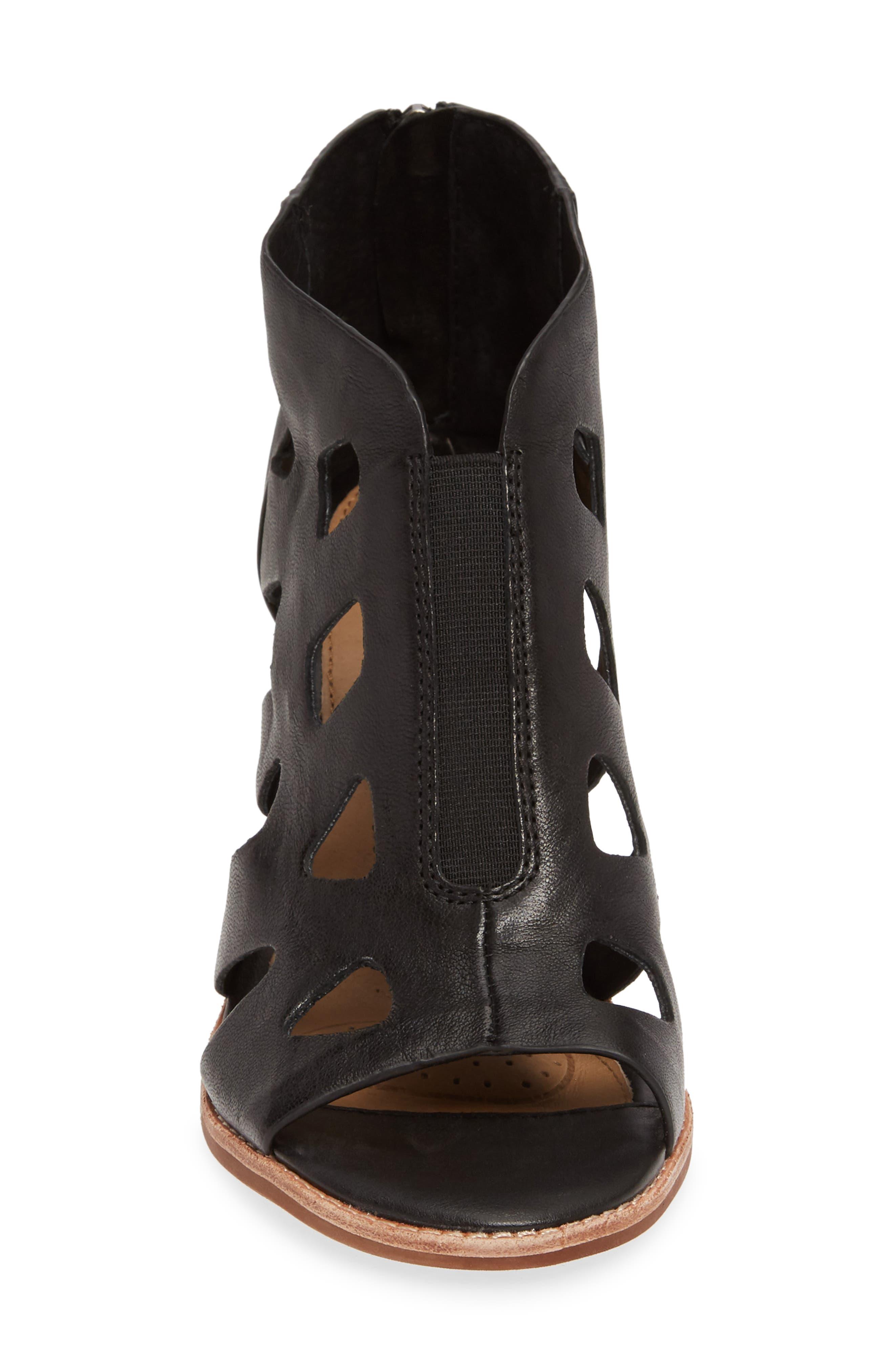 Pazia Block Heel Sandal,                             Alternate thumbnail 4, color,                             BLACK LEATHER
