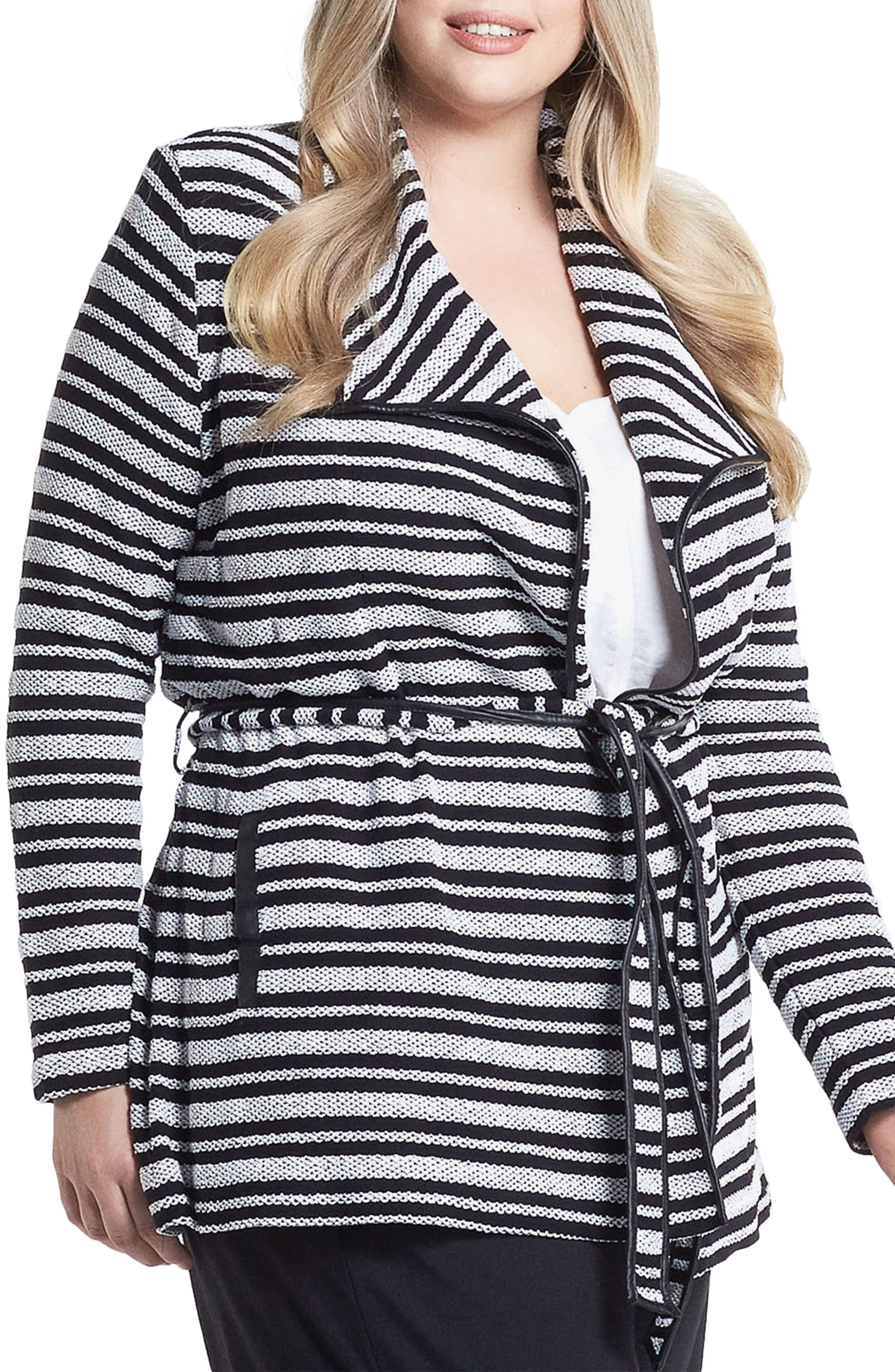Xena Belted Stripe Knit Jacket,                             Alternate thumbnail 3, color,
