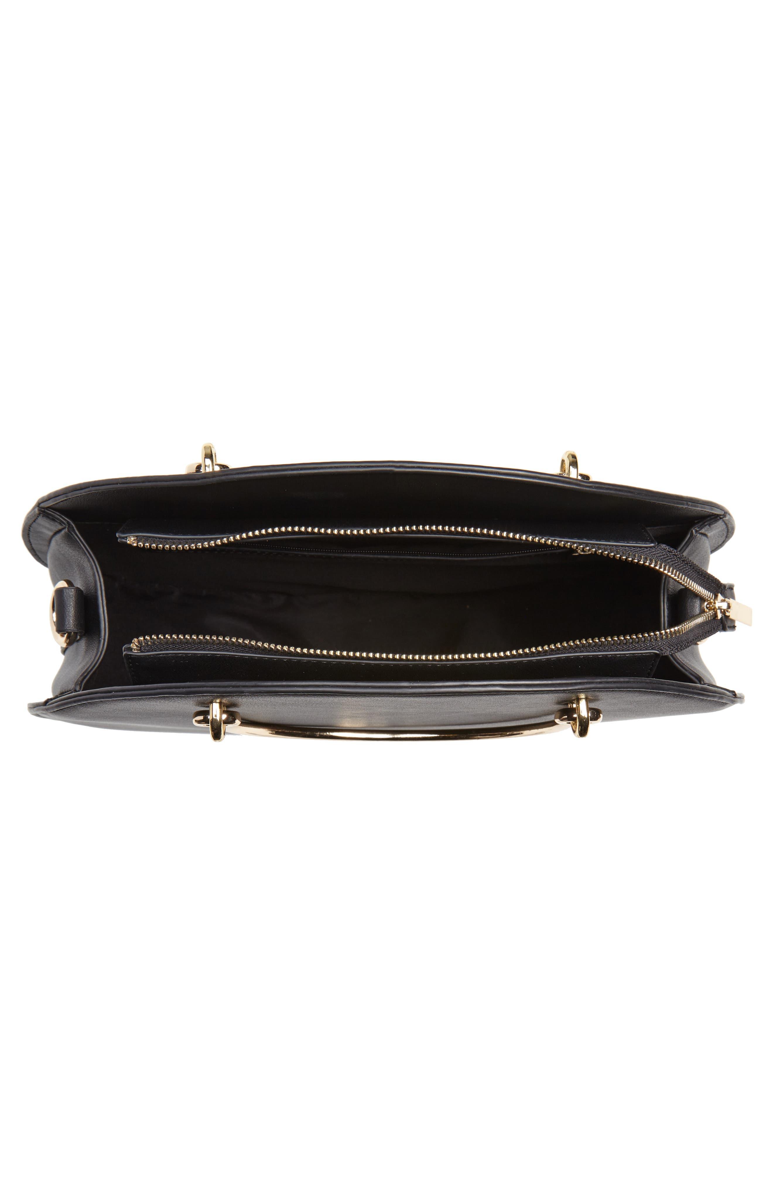 Mali + Lili Vegan Leather Round Top Handle Bag,                             Alternate thumbnail 4, color,                             001